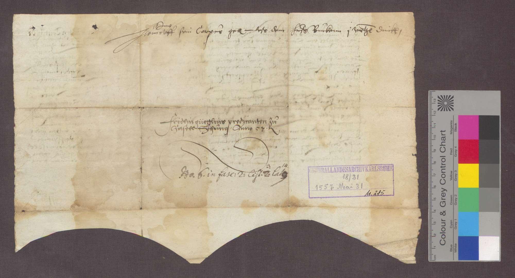 Hans Kaspar von Jestetten, Komtur zu Beuggen, überträgt dem Fridolin Güntli von Oetlikon die Pfarrei zu Hasel für ein Jahr., Bild 2
