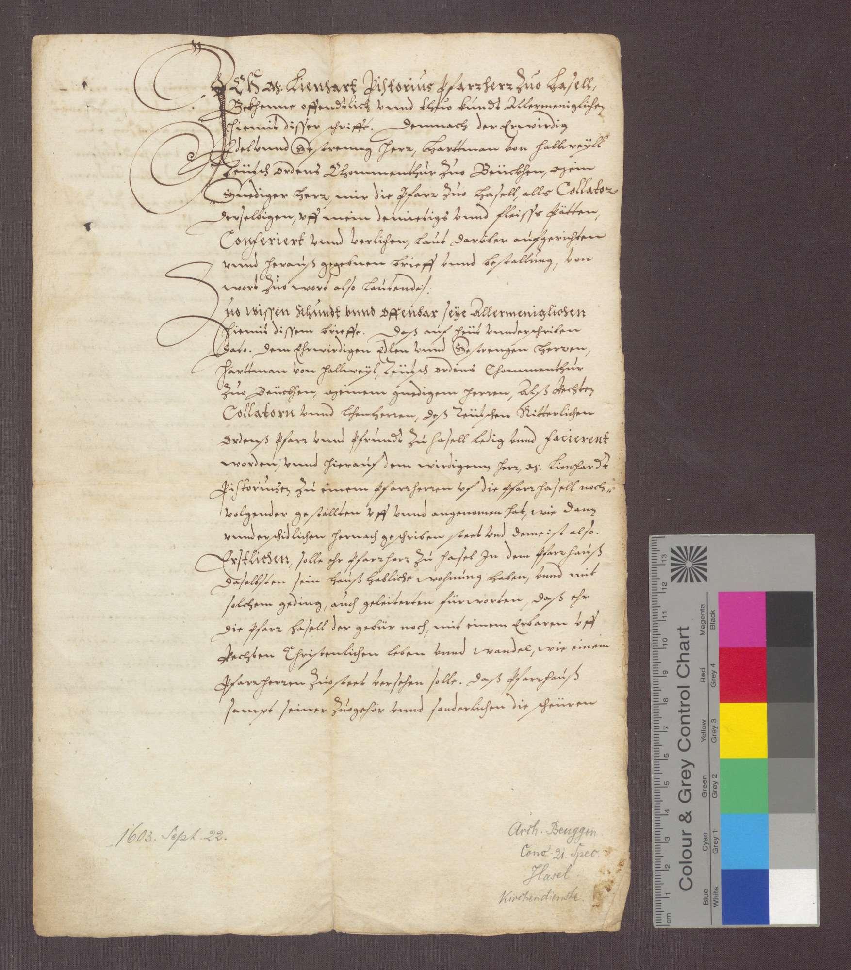 Hartmann von Hallwil, Komtur zu Beuggen, reversiert gegenüber dem zum Pfarrer in Hasel ernannten Lienhard Pistorius., Bild 1
