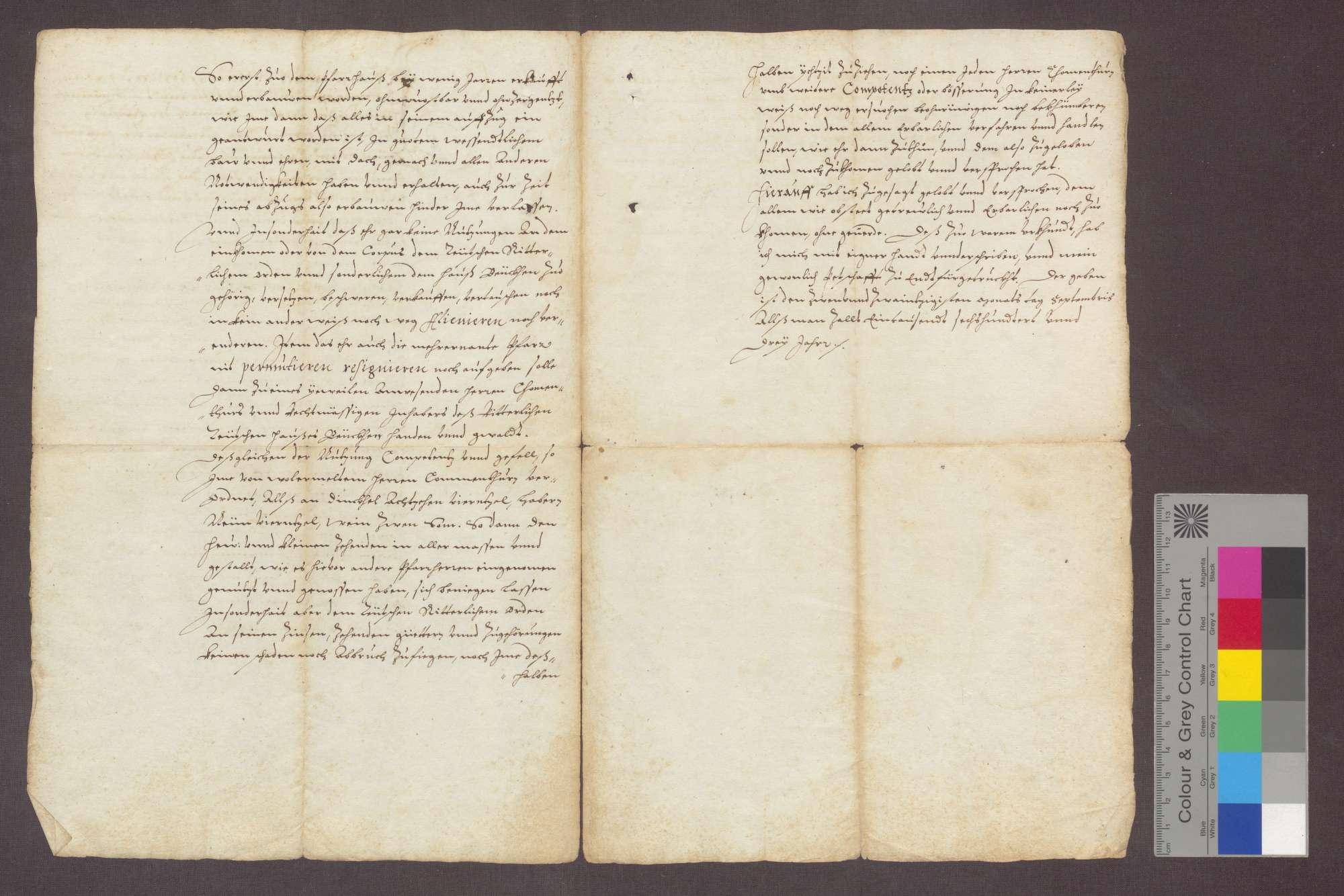 Hartmann von Hallwil, Komtur zu Beuggen, reversiert gegenüber dem zum Pfarrer in Hasel ernannten Lienhard Pistorius., Bild 2