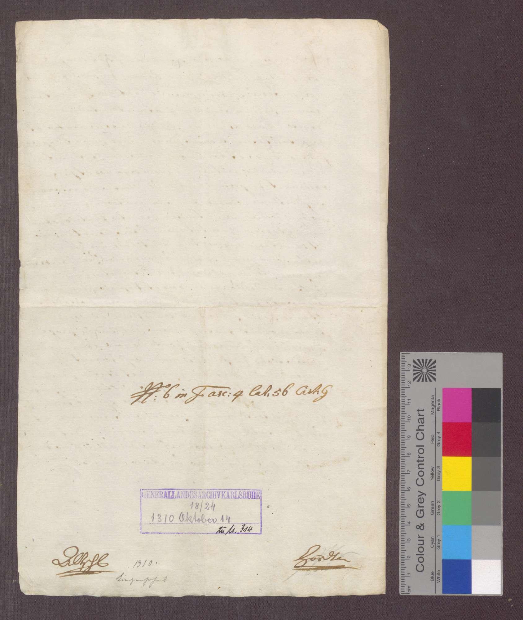 König Heinrich VII. schenkt dem Deutschen Orden zu Beuggen das Patronatsrecht der Kirche zu Herten in Konstanzer Diözese., Bild 2