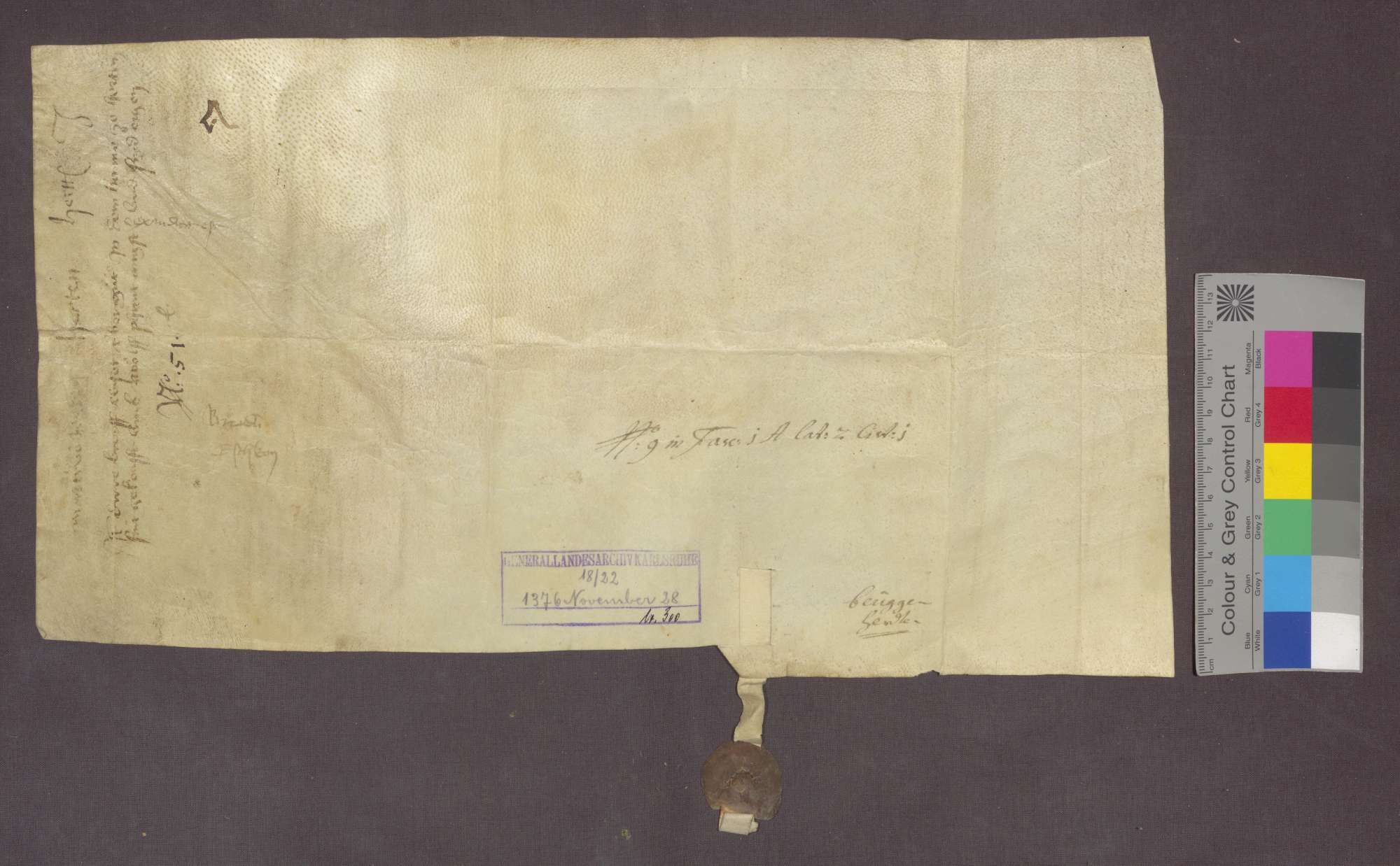 Elisabeth von Eschlikon, Witwe Burkhard von Eschlikons, verkauft an Heinrich Brendli zu Rheinfelden 1 1/2 Mannwerk Matten und ein Stück Reben zu Herten um 12 Pfund Pfennige., Bild 2