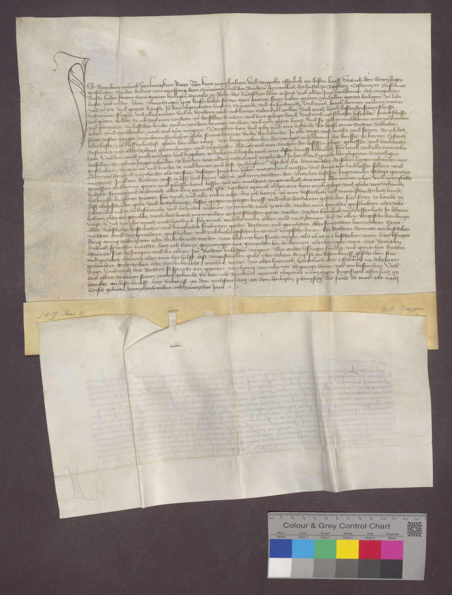 Der Offizial des Basler Hofgerichts bekundet, dass vor ihm der Ritter Burkhard Münch von Landskron die Schenkung des Laienzehnten zu Herten nach Laut der Urkunde vom 2. Juni 1419 öffentlich erklärt hat., Bild 1