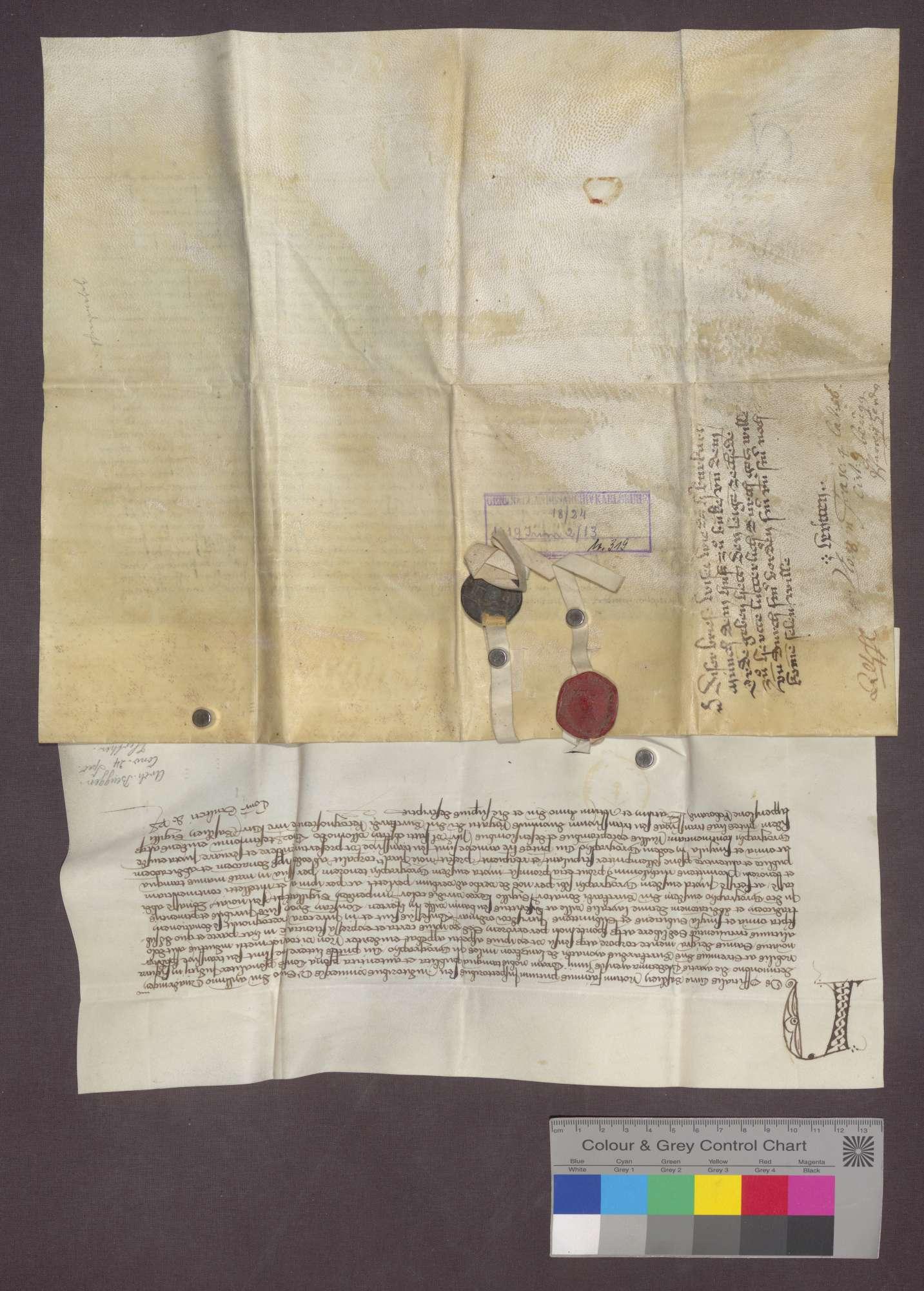 Der Offizial des Basler Hofgerichts bekundet, dass vor ihm der Ritter Burkhard Münch von Landskron die Schenkung des Laienzehnten zu Herten nach Laut der Urkunde vom 2. Juni 1419 öffentlich erklärt hat., Bild 2