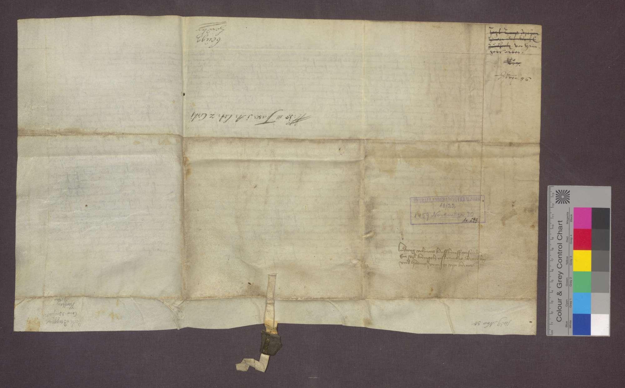 Matthias Hertenberg und Hans Veinger von Herten verkaufen an Ludwig Volmar zu Rheinfelden eine Gült von 1 Viernzel Korn von Gütern zu Herten um 10 Gulden., Bild 2
