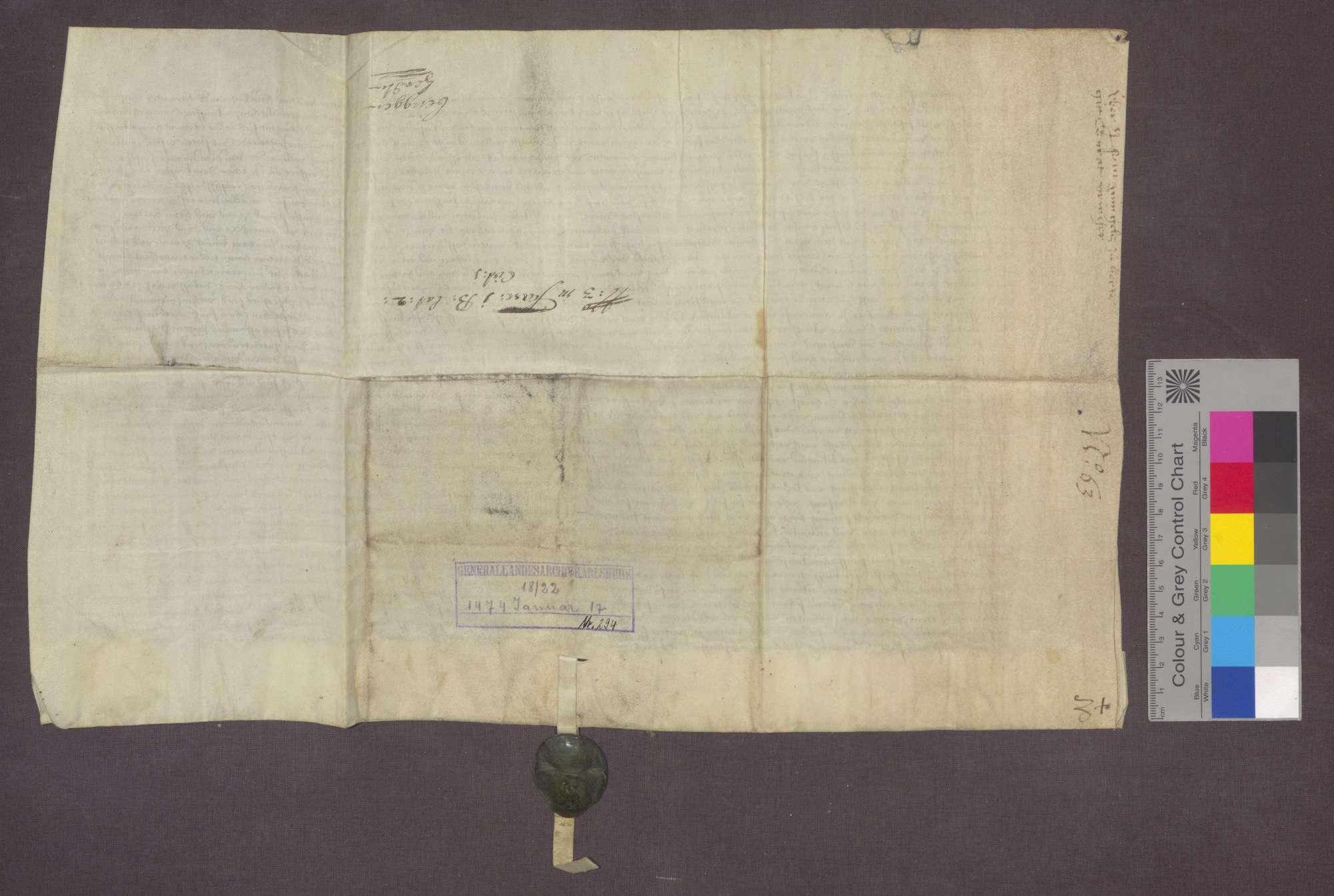 Konrad Veinger,Heinrich von Marth und Peter Baßler zu Herten verkaufen an Ludwig Volmar zu Rheinfelden eine Gült von 1 1/2 Saum Weißwein von Gütern in Herten und Warmbach um 15 Gulden., Bild 2