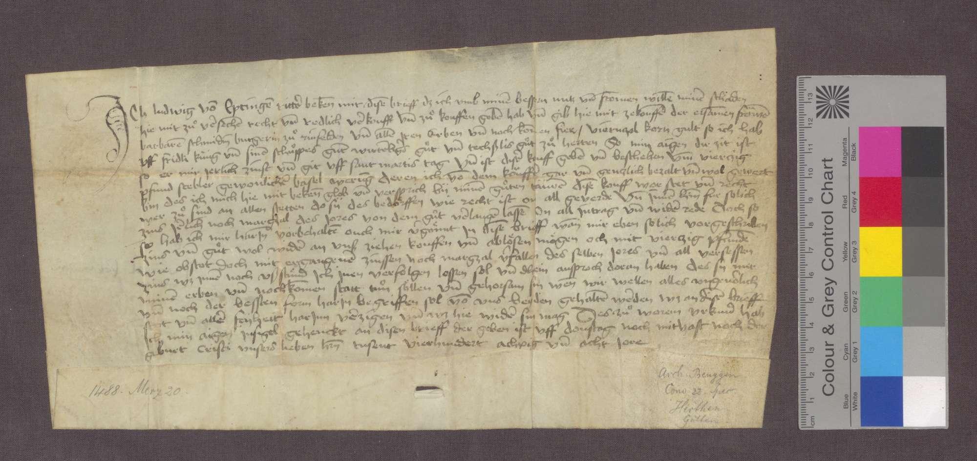 Ludwig von Eptingen verkauft an Frau Barbara Schmid zu Rheinfelden eine Gült von 4 Viernzel Korn von Gütern zu Herten um 40 Pfund Stebler., Bild 1