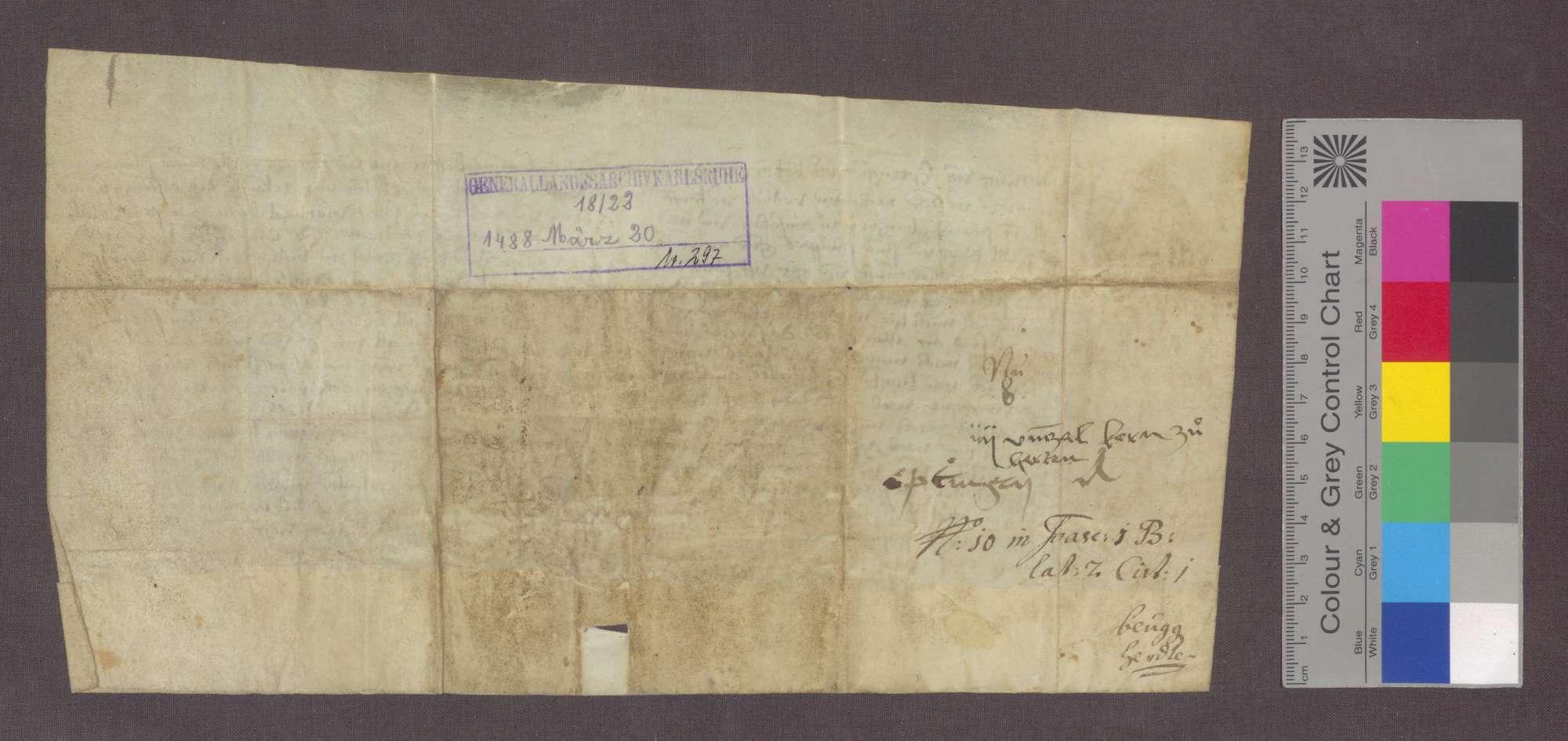 Ludwig von Eptingen verkauft an Frau Barbara Schmid zu Rheinfelden eine Gült von 4 Viernzel Korn von Gütern zu Herten um 40 Pfund Stebler., Bild 2
