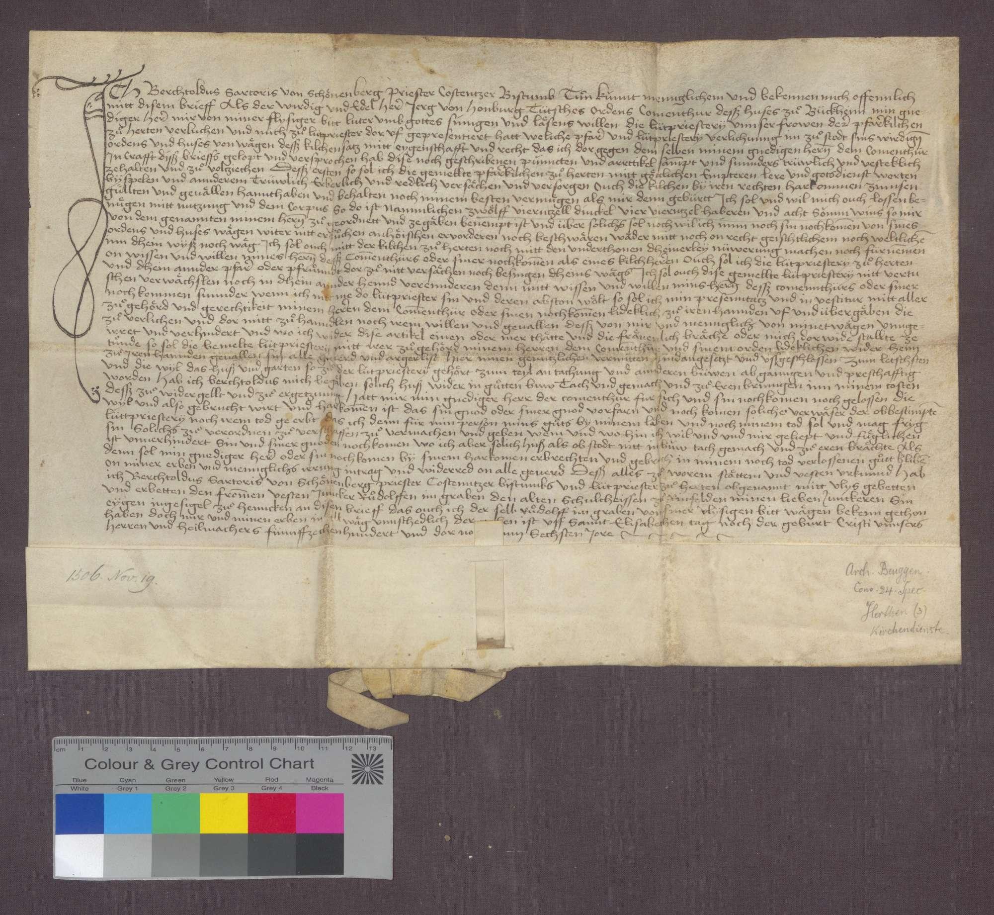Georg von Homburg, Komtur zu Beuggen, bestellt Berthold Sotaris von Schönenberg zum Leutpriester zu Herten; mit Kompetenzbeschreibung., Bild 1