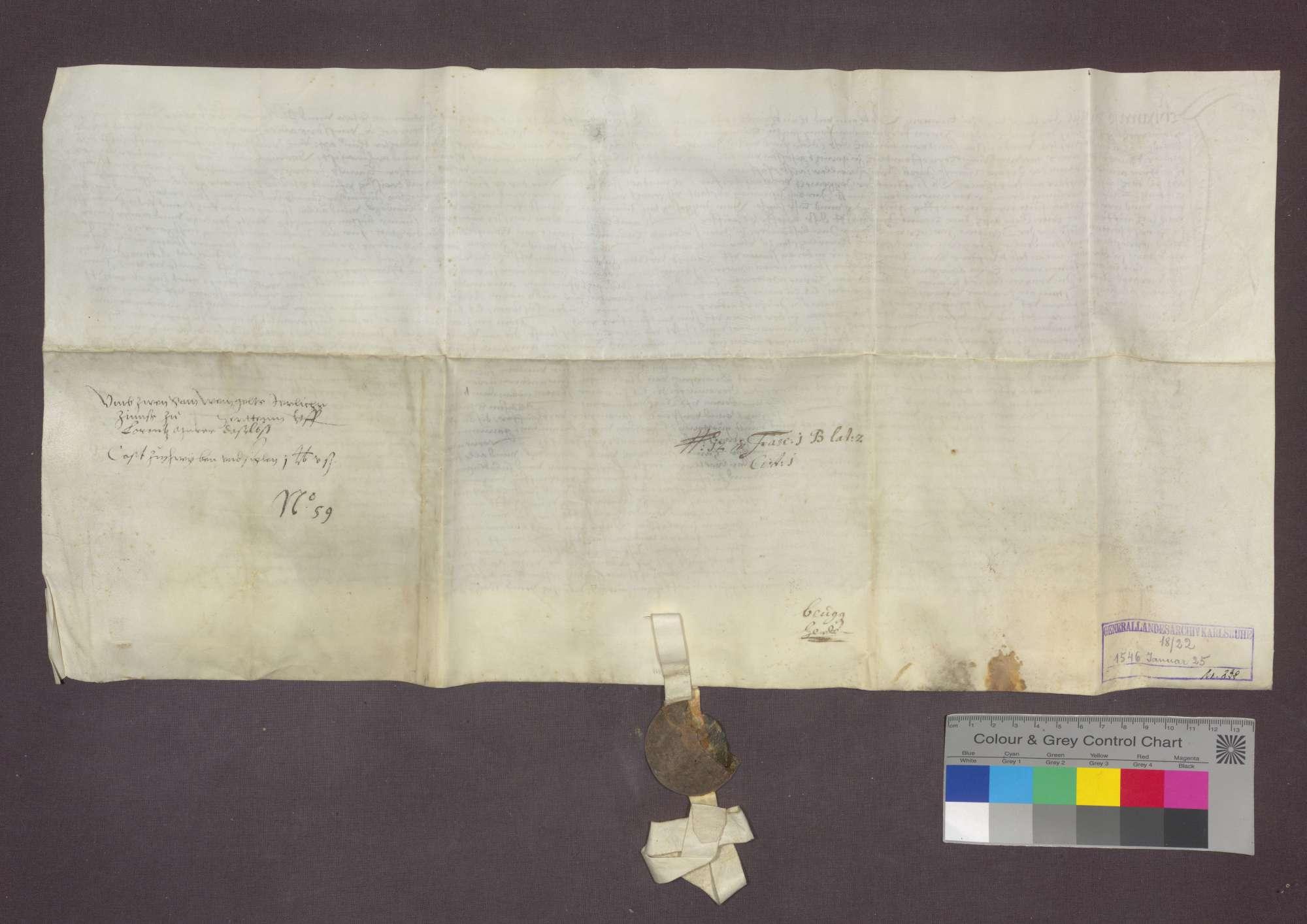 Lorenz Maurer von Herten verkauft an Hans Friedrich von Landegg eine Gült von 2 Saum Weißwein von Gütern in Herten um 30 Pfund Stebler., Bild 2
