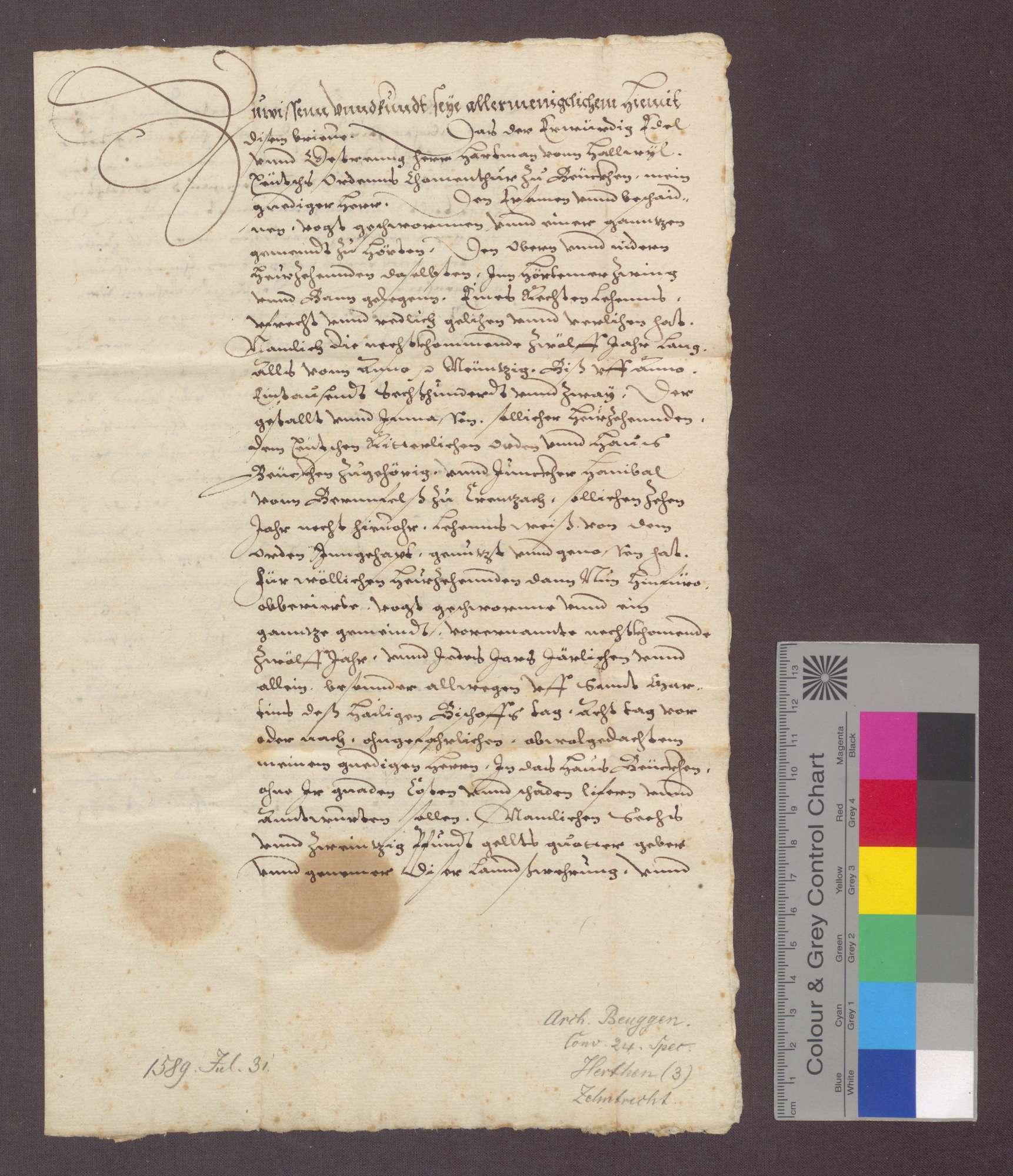 Hartmann von Hallwil, Komtur zu Beuggen, verleiht der Gemeinde Herten auf zwölf Jahre den oberen und niederen Heuzehnt in der Gemarkung von Herten um jährlich 26 Pfund Geld., Bild 1