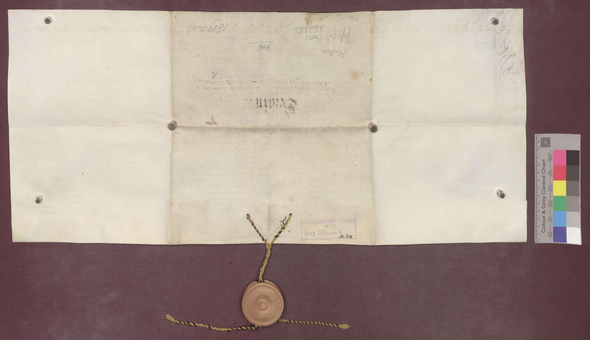 Berainbrief über die Güter der Johanniter-Kommende zu Rheinfelden (Komtur Georg Burkhard von Schauenburg) zu Herten, ausgestellt von dem Vogt zu Degerfelden und den Gerichtspersonen zu Herten und Degerfelden., Bild 2