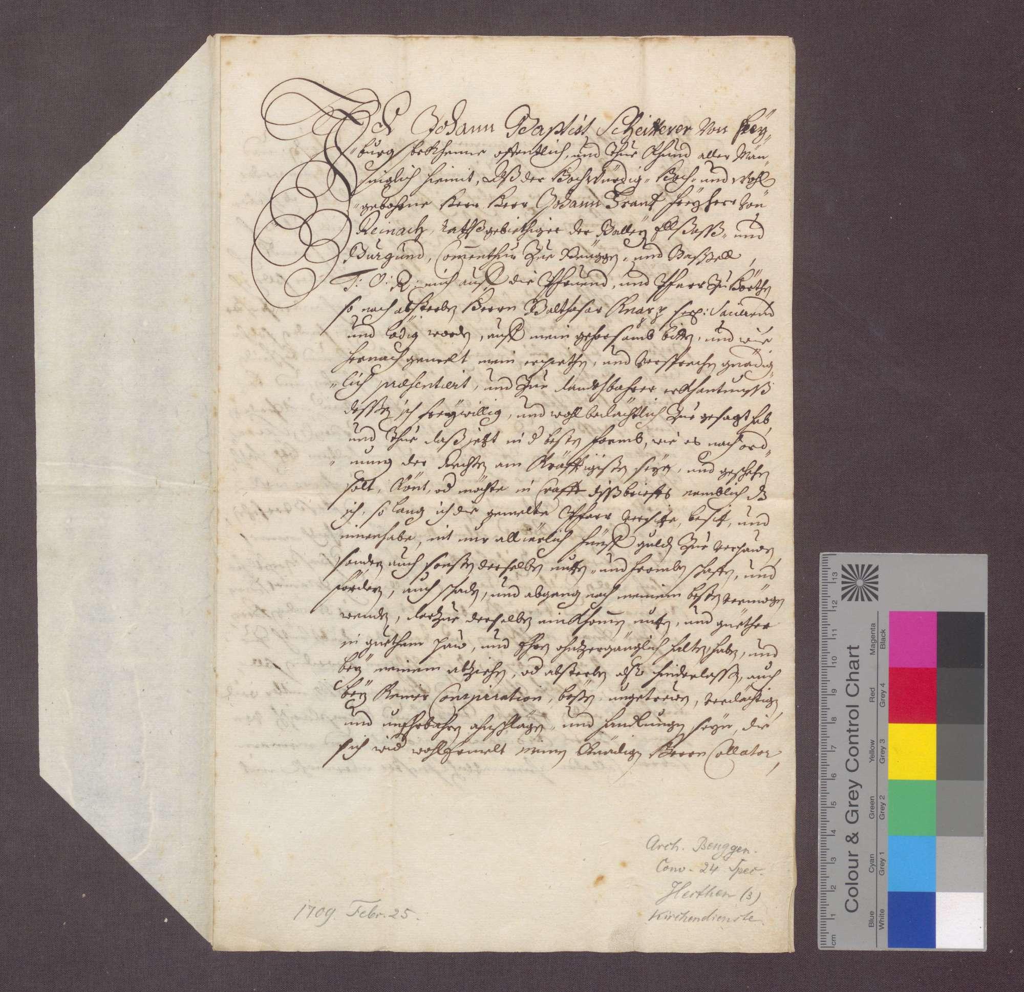 Johann Baptist Scheitterer von Freiburg reversiert, nachdem er von Johann Franz von Reinach, Statthalter des Komturs zu Beuggen als Pfarrer zu Herten präsentiert wurde., Bild 1