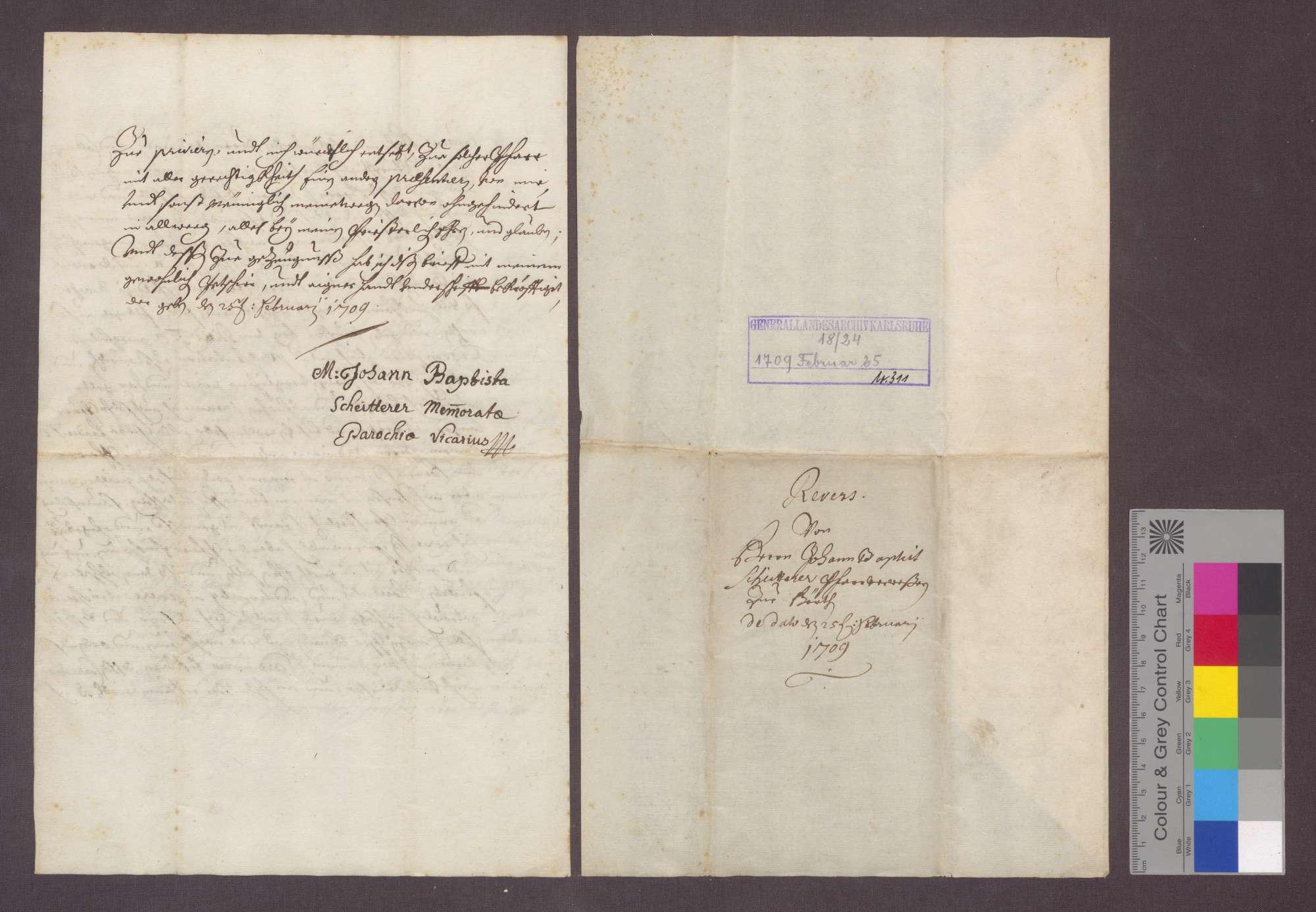 Johann Baptist Scheitterer von Freiburg reversiert, nachdem er von Johann Franz von Reinach, Statthalter des Komturs zu Beuggen als Pfarrer zu Herten präsentiert wurde., Bild 3