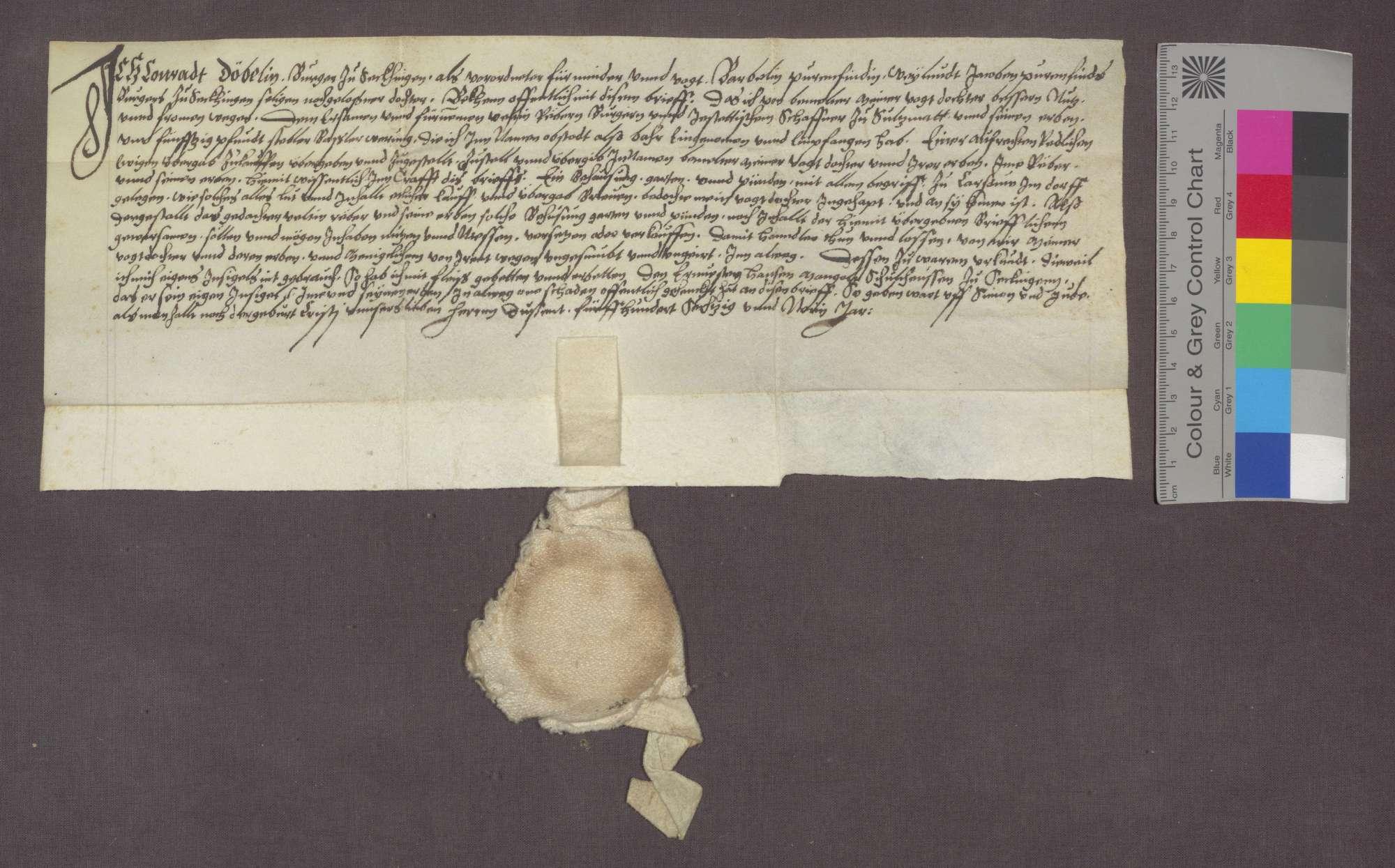 Barbelin, Tochter des verstorbenen Jakob Bauernfeind, verkauft an Veltin Reber zu Sulzmatt Behausung, Garten und Bünden zu Karsau um 50 Pfund Stebler., Bild 1