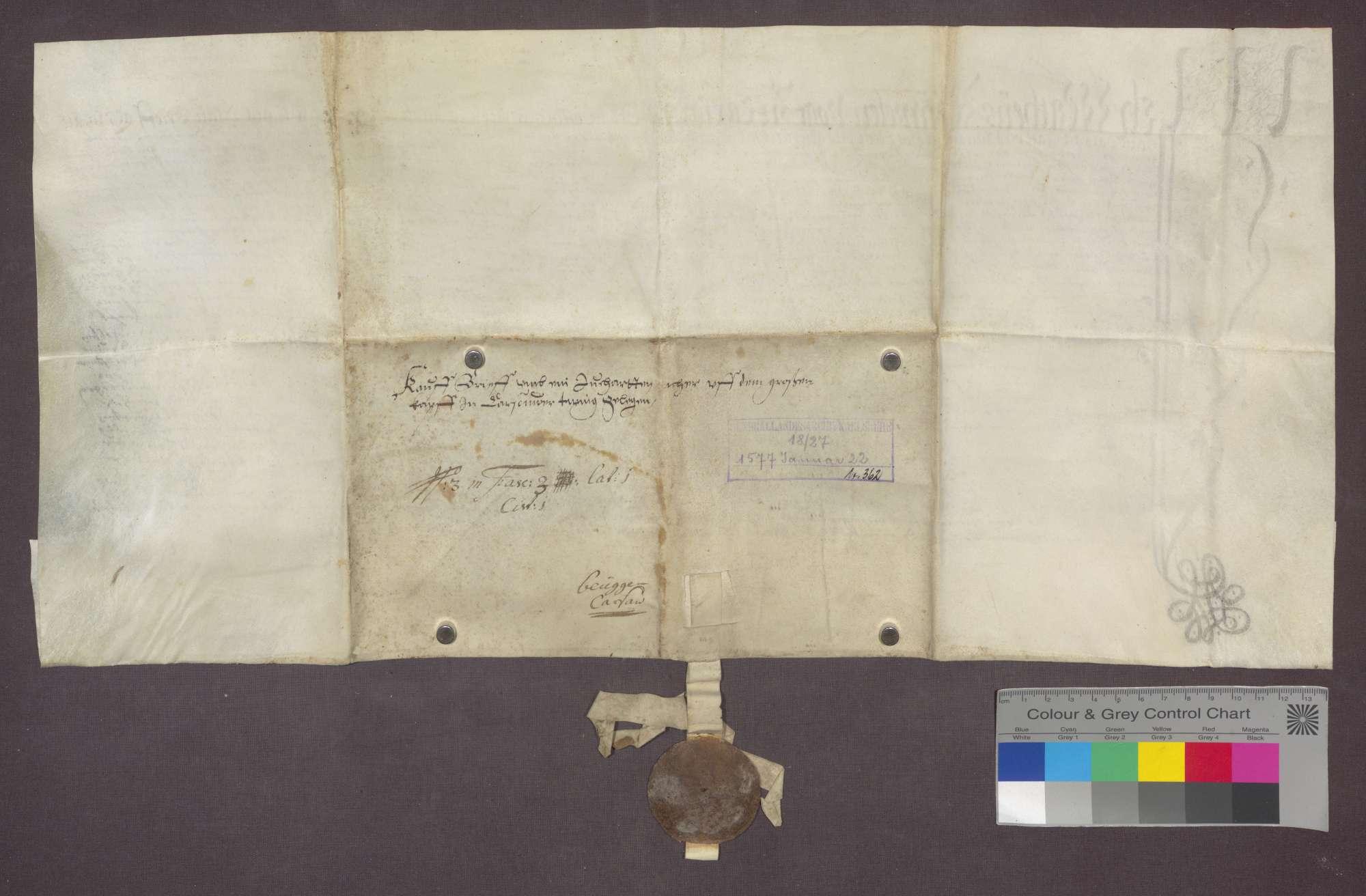 Hans Schmidlin von Karsau verkauft an Ottilia Brombach daselbst 1 Juchart Acker um 20 Pfund Stebler., Bild 2