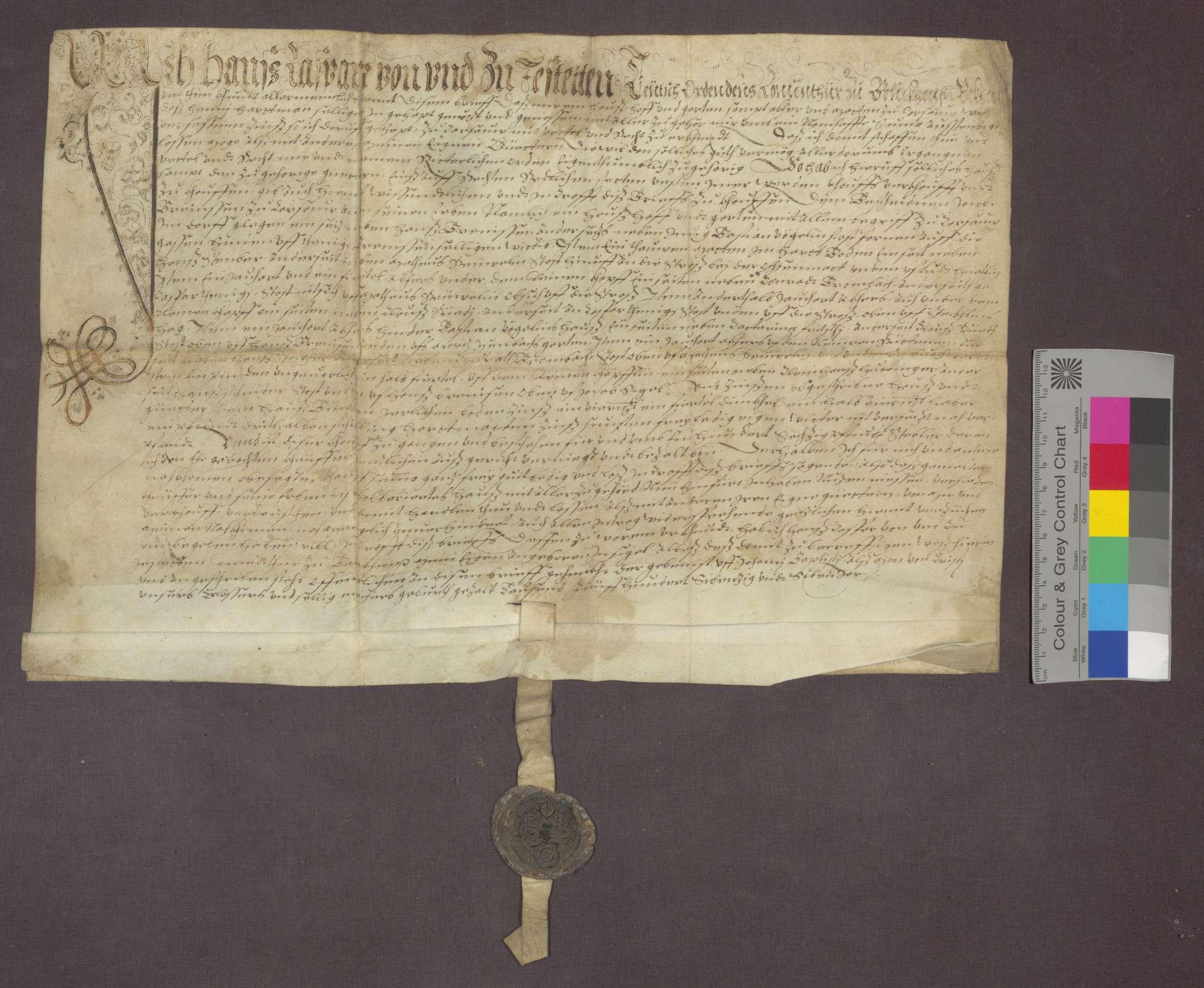 Hans Kaspar von Jestetten, Komtur zu Beuggen, verkauft an Jakob Brenneisen ein Haus samt Hof, Garten und Zubehör zu Krasau, um 160 Pfund Stebler., Bild 1