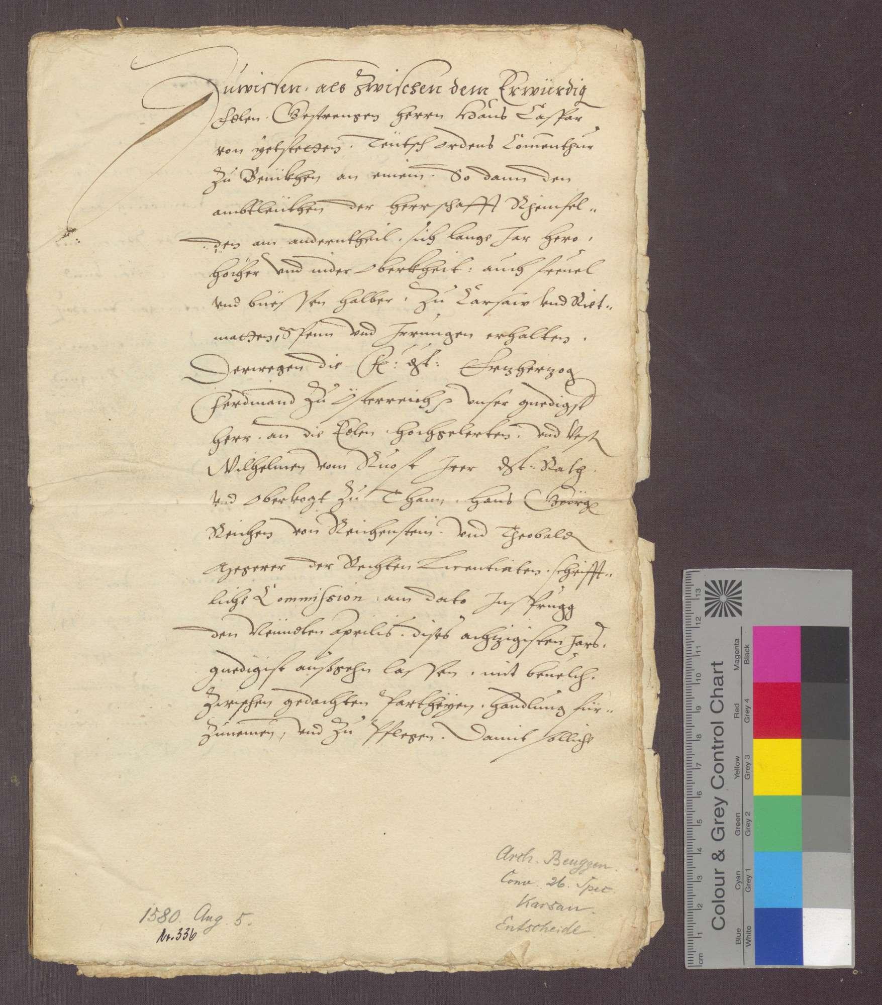 Entscheid zwischen der Deutsch-Ordens-Kommende Beuggen und der Herrschaft Rheinfelden wegen der Gerichtsbarkeit zu Karsau und Riedmatt., Bild 1