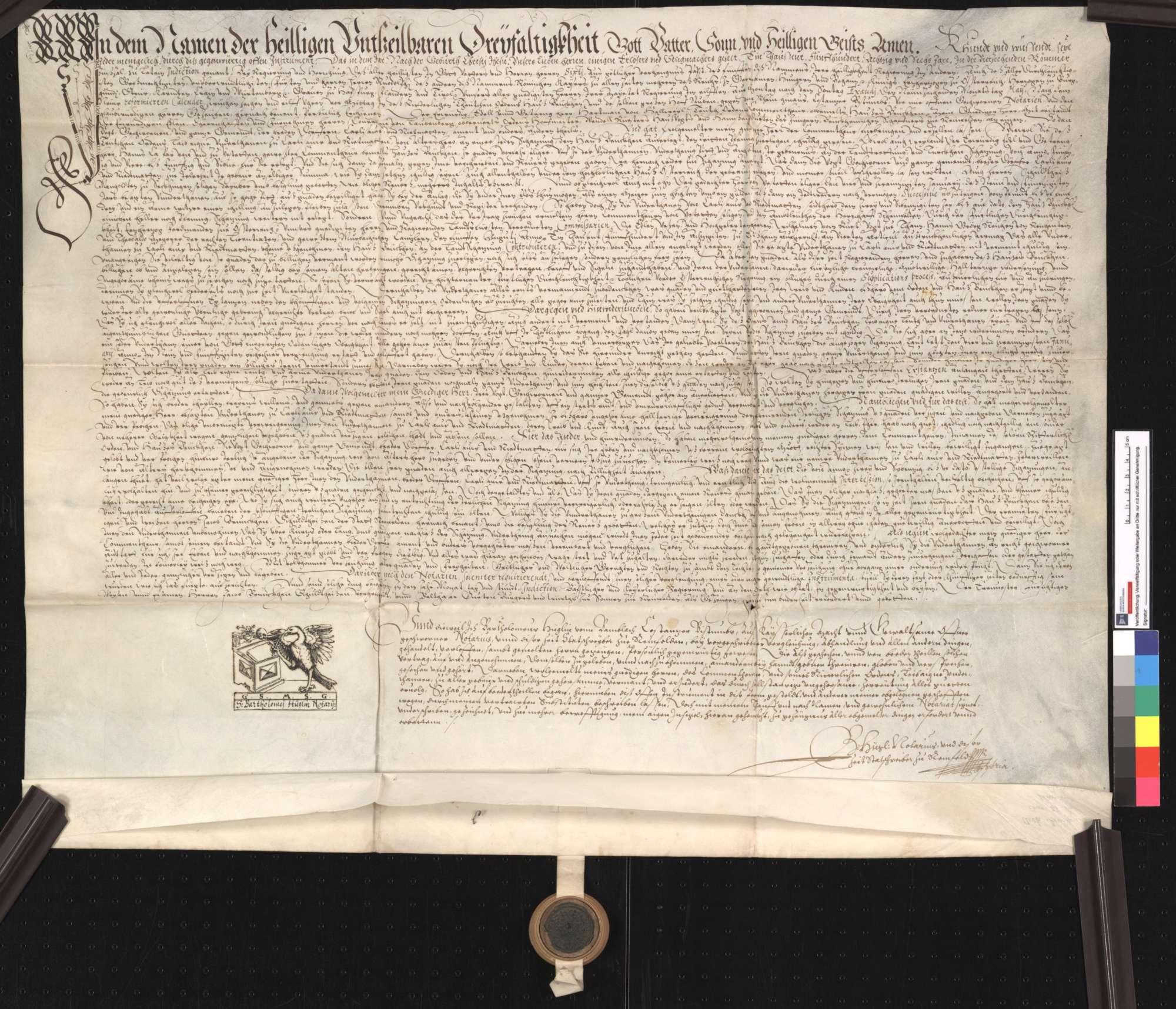 Notariatsinstrument über einen Vertrag zwischen Hartmann von Hallwil, Komtur zu Beuggen, und den Gemeinden Karsau und Riedmatt, wegen der von diesen zu entrichtenden Schatzung., Bild 1