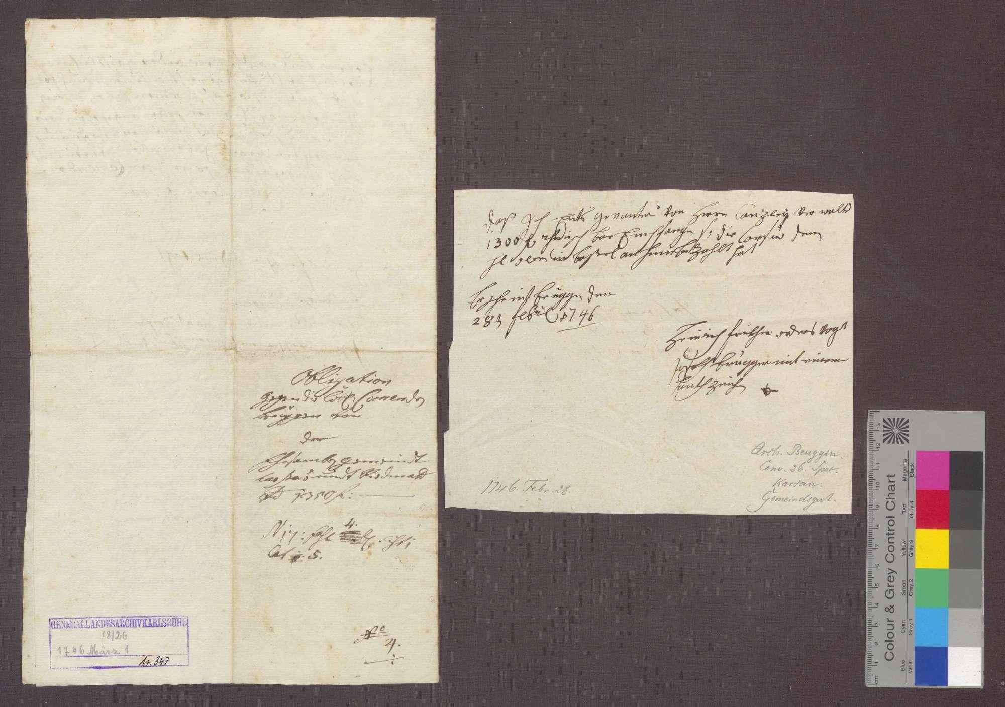 Die Gemeinden Karsau und Riedmatt quittieren der Kommende Beuggen den Empfang eines von Komtur Franz Karl von Schönau ihnen geliehenen, mit 5 Prozent verzinslichen Kapitals von 1300 Gulden., Bild 3
