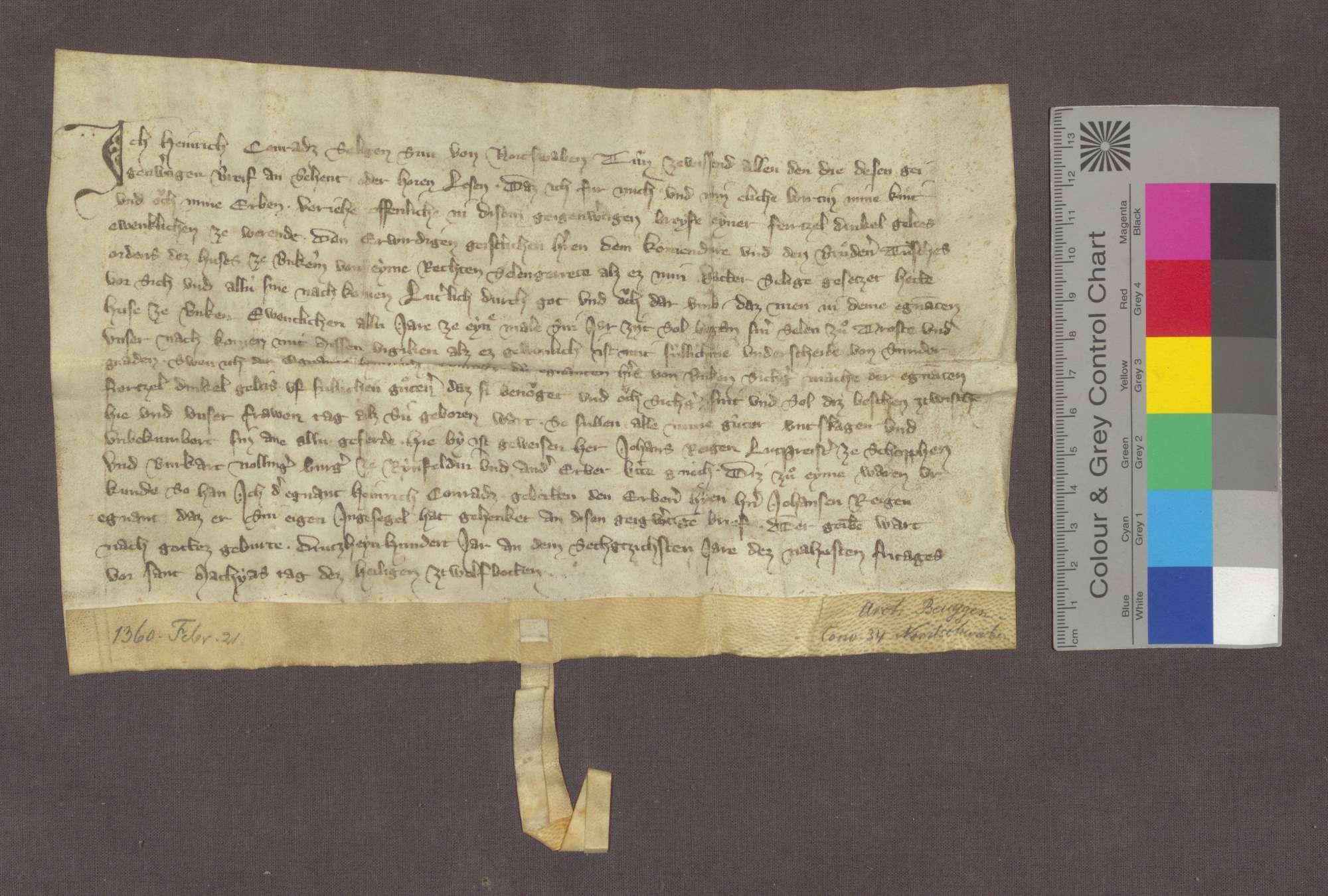 Heinrich, Sohn der verstorbenen Konrad von Nordschwaben, verschreibt dem Deutsch-Ordens-Haus zu Beuggen eine Gült von 1 Viernzel Dinkel von einem Seelgerät, das sein Vater bestellt hatte., Bild 1