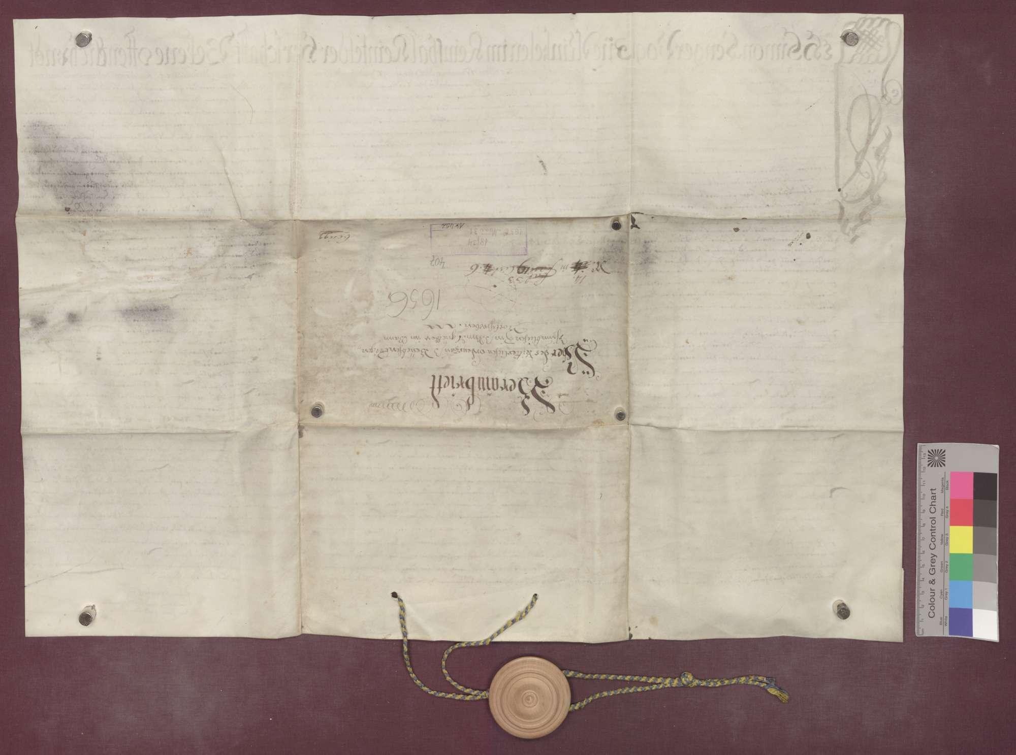 Berainbrief über die Zins- und Schupposengüter der Kommende Beuggen (Komtur Philipp Albert von Berndorf) zu Nordschwaben, ausgestellt von Vogt, Richtern und Zinsleuten zu Minseln., Bild 2
