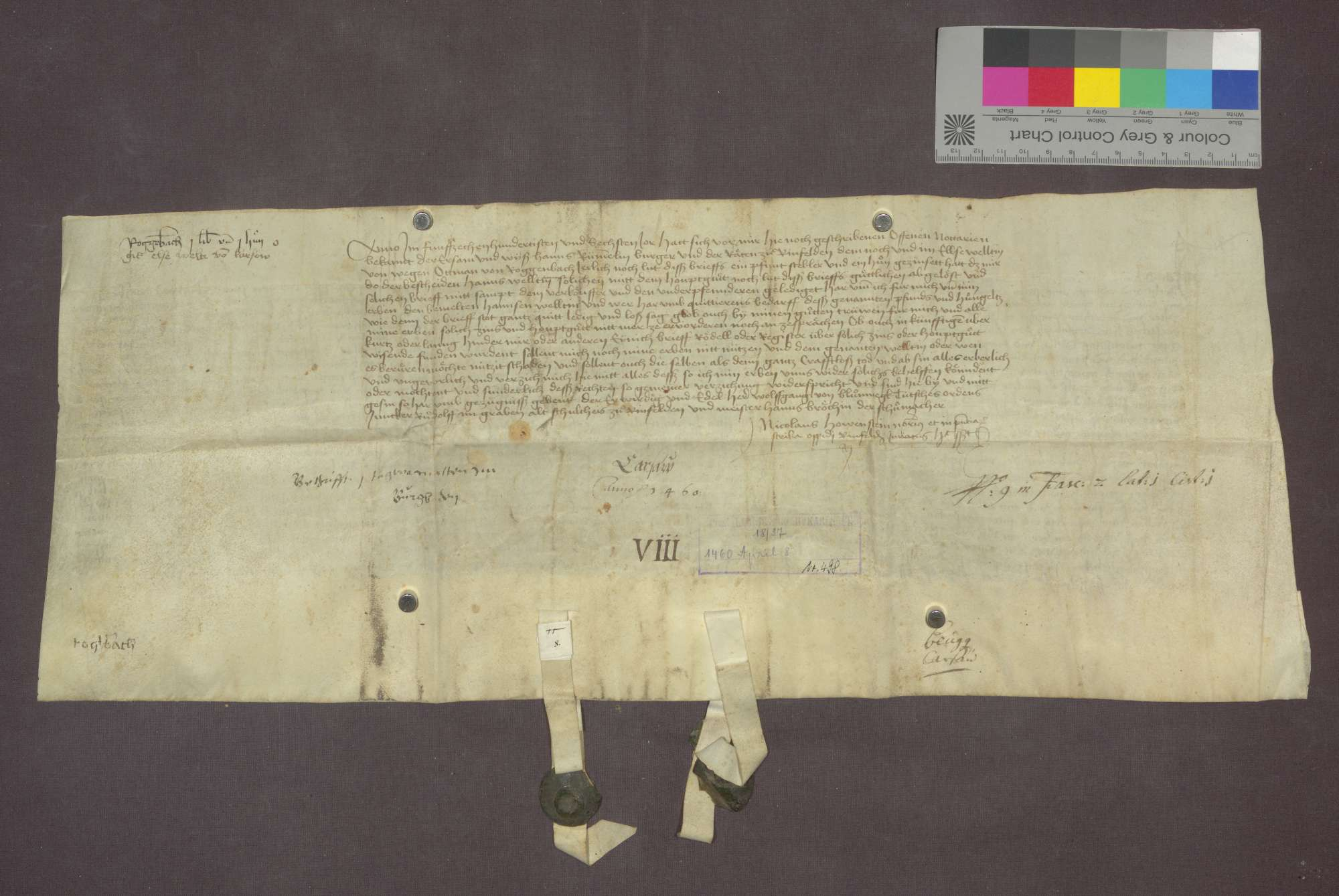 Ottman von Roggenbach verkauft an Lienhard Scherer von Schopfheim eine Gült von 1 Pfund Stebler und einem Huhn von Gütern zu Rheinfelden auf dem sogenannten Burgboden um 20 Gulden., Bild 2
