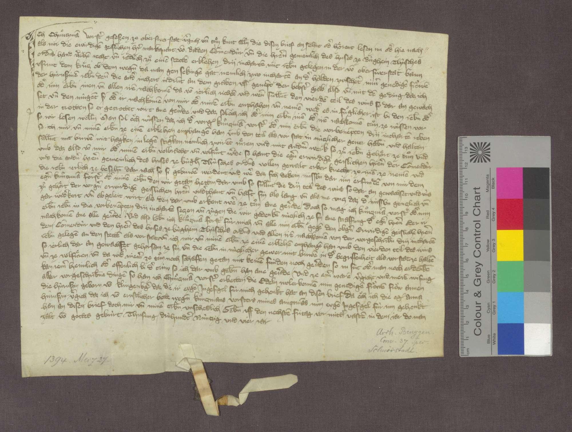 Kunzmann Forster zu Oberschwörstadt reversiert gegenüber Marquard von Baden, Komtur zu Beuggen, wegen 3 Juchart Reben in der Gemarkung von Oberschwörstadt, die ihm für den vierten Teil des Ertrags an Wein zu Erblehen verliehen wurden., Bild 1