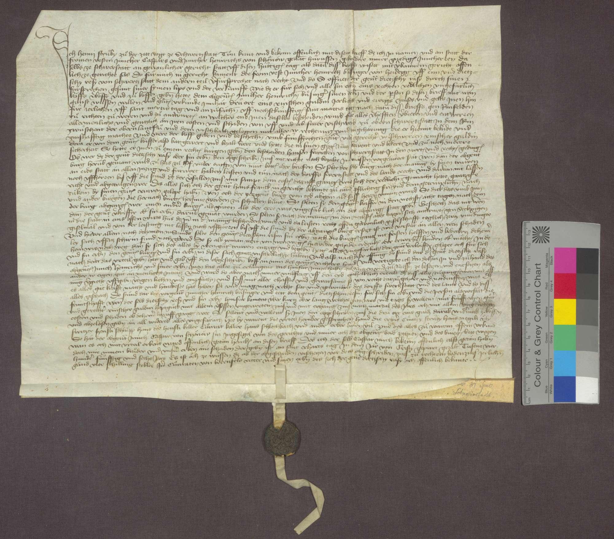 Dintzschy Resy von Schwörstadt verkauft an Heinrich Büsinger von Heidegg eine jährliche Gült von 3 Ort eines Gulden, von seiner Fischweide im Rhein zu Oberschwörstadtim zwischen der oberen Landflu und dem Fischbach um 15 Gulden., Bild 1