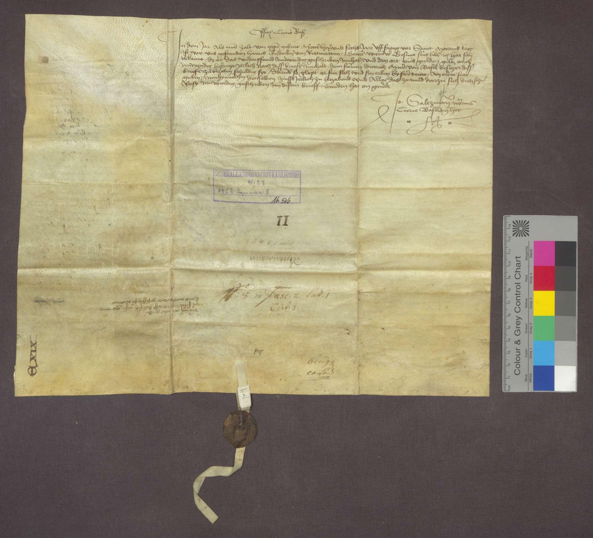 Dintzschy Resy von Schwörstadt verkauft an Heinrich Büsinger von Heidegg eine jährliche Gült von 3 Ort eines Gulden, von seiner Fischweide im Rhein zu Oberschwörstadtim zwischen der oberen Landflu und dem Fischbach um 15 Gulden., Bild 2