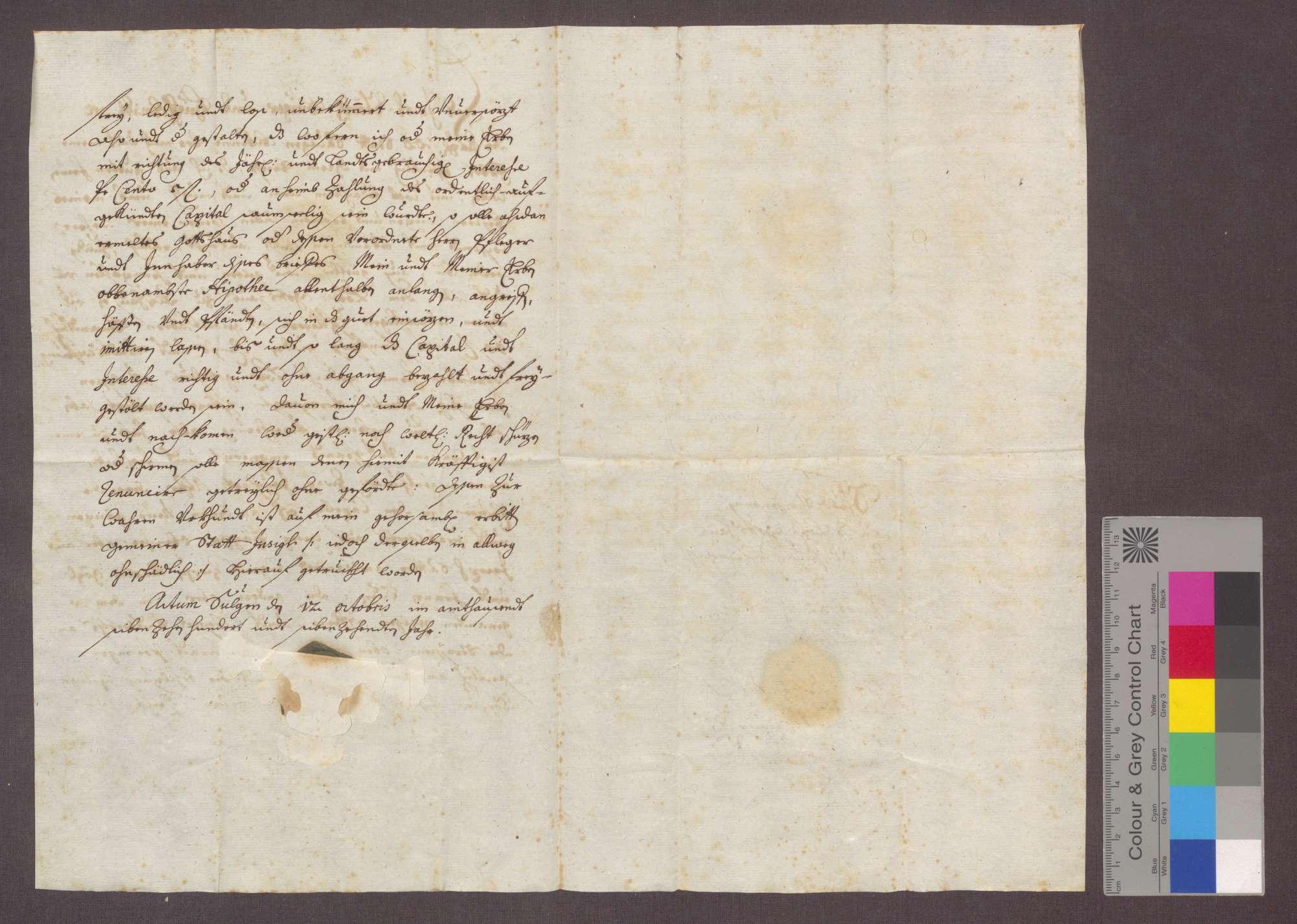 Jakob Störck, Hufschmied zu Saulgau, verschreibt sich gegenüber dem Gotteshaus zu Altshausen wegen 50 Gulden Kapital zu 5 Prozent Zins und setzt 2 Juchart Äcker zu Unterpfand., Bild 2