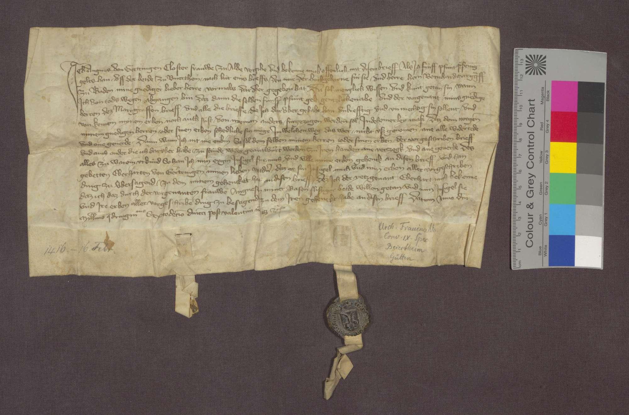 Agnes von Gärtringen, Klosterfrau zu Frauenalb, reversiert gegenüber Markgraf Bernhard von Baden, dass die ihr von diesem auf der Bede zu Beiertheim versicherten 5 Pfund Heller jährlicher Gült nach ihrem Tod nicht weiter zu bezahlen sind und ihre Erben die diesbezüglichen Briefe zurückgeben sollen., Bild 3