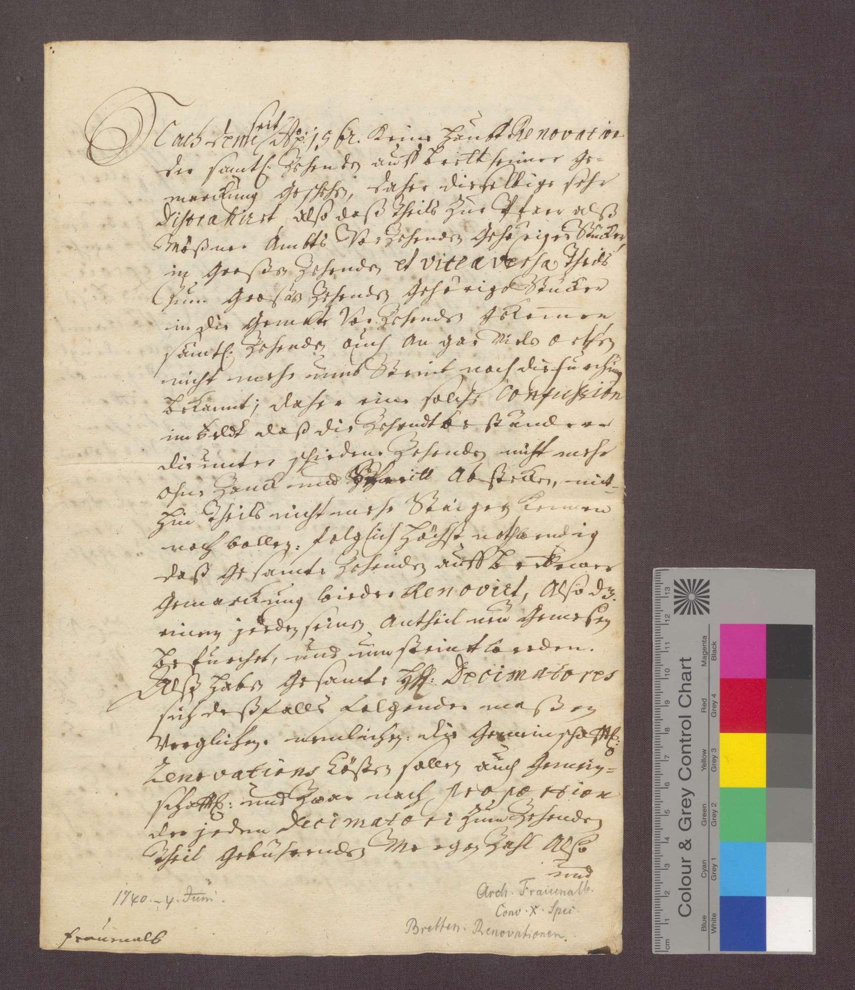 Die Dezimatoren zu Bretten vergleichen sich, da seit 1562 keine Hauptrenovation des gesamten Zehnten von Brettener Gemarkung vorgenommen wurde, wegen der entsprechenden Anteile zu repartierenden Kosten einer Renovation., Bild 1