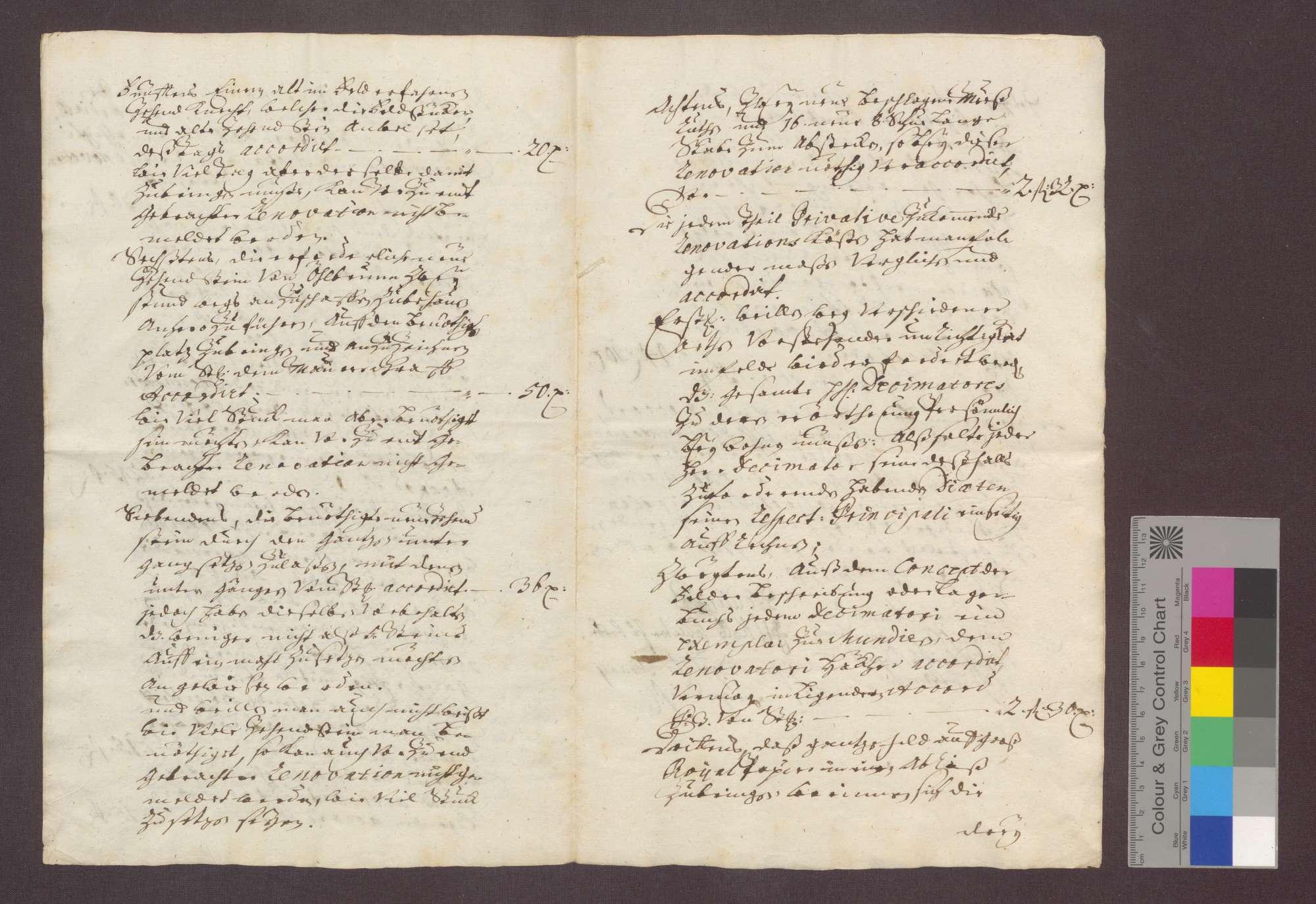Die Dezimatoren zu Bretten vergleichen sich, da seit 1562 keine Hauptrenovation des gesamten Zehnten von Brettener Gemarkung vorgenommen wurde, wegen der entsprechenden Anteile zu repartierenden Kosten einer Renovation., Bild 3
