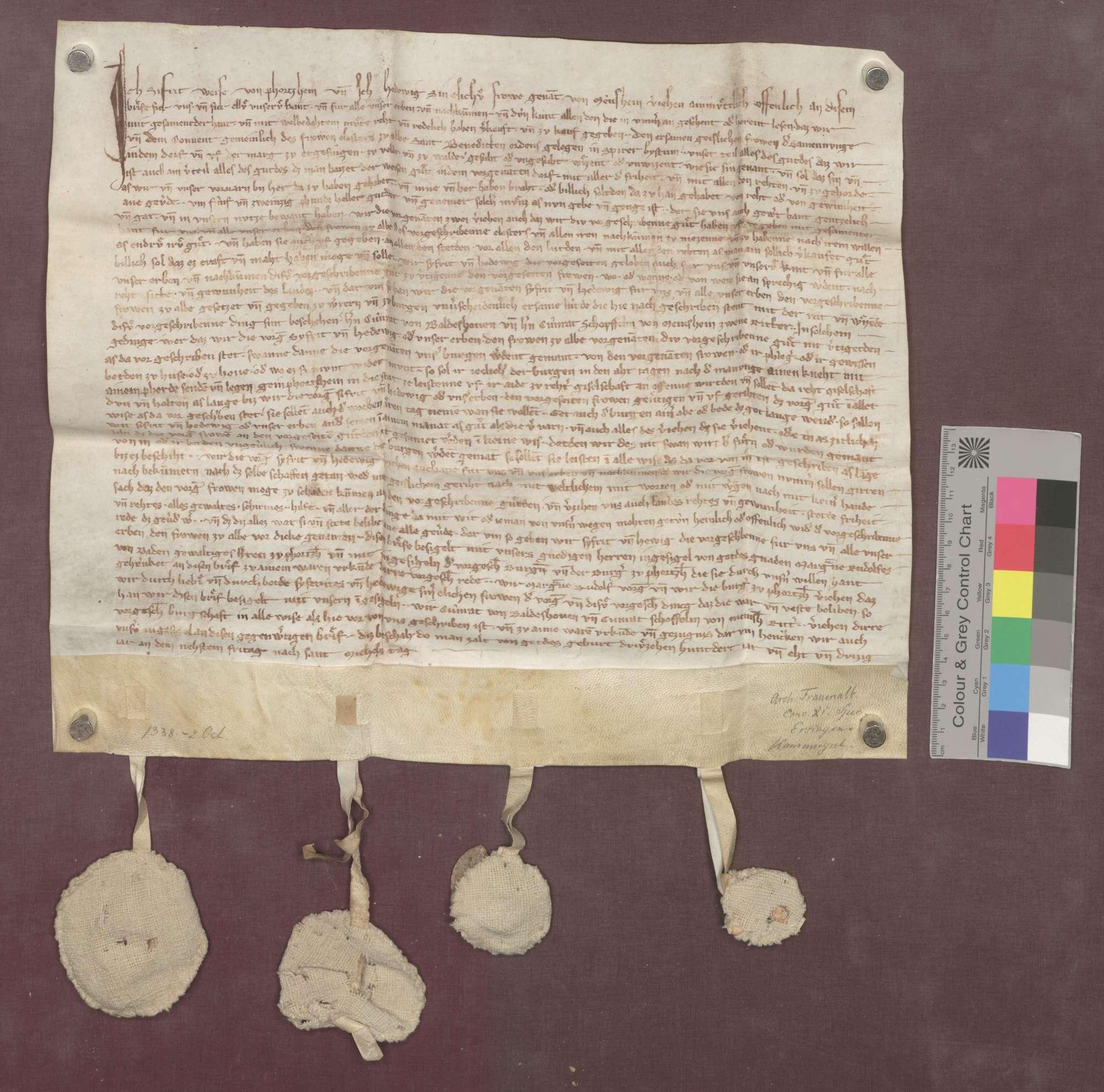 Sifrit Weise von Pforzheim und seine Ehefrau Hedwig von Mönsheim verkaufen dem Kloster Frauenalb ein Viertel des sogenannten Weisenguts zu Ersingen um 25 Pfund Heller., Bild 1