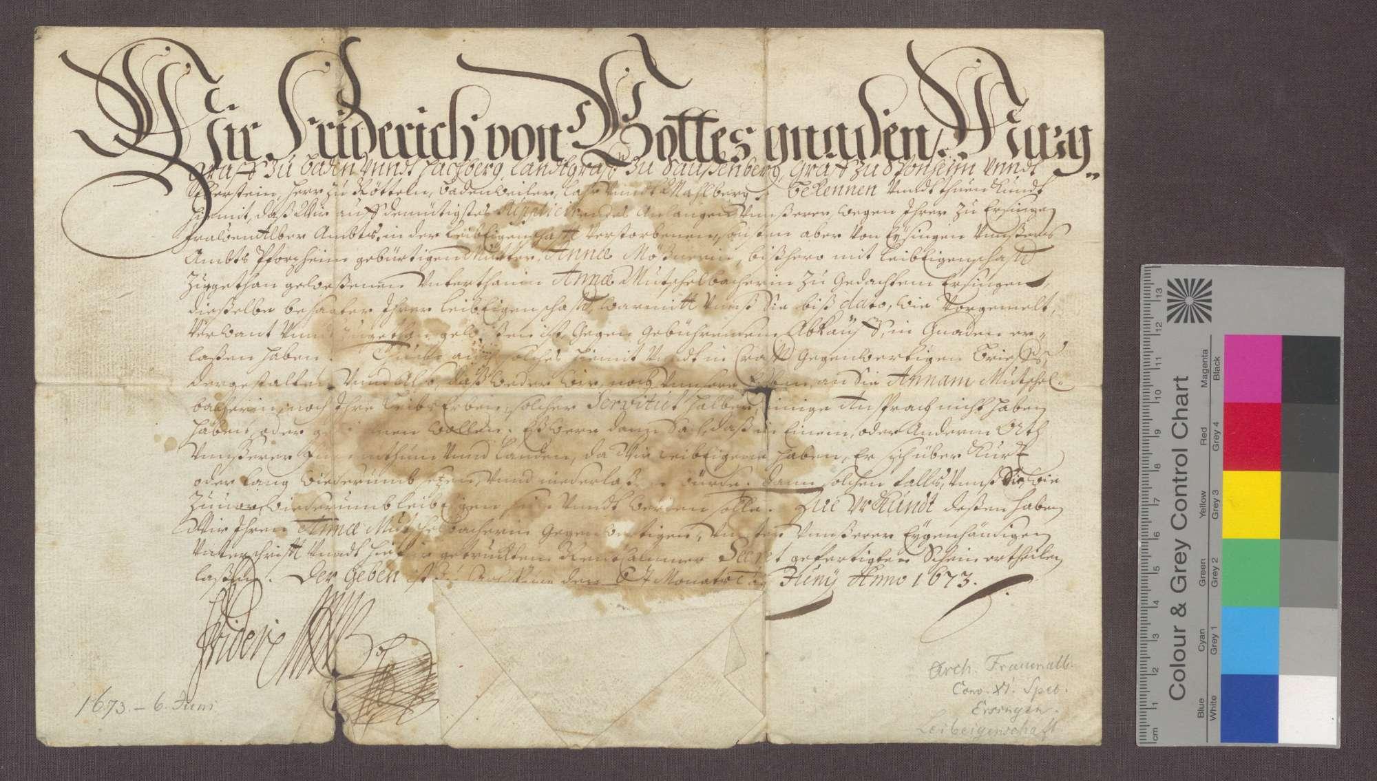 Markgraf Friedrich von Baden erteilt Anna Mutschelbacher zu Ersingen einen Manumissionsbrief., Bild 1