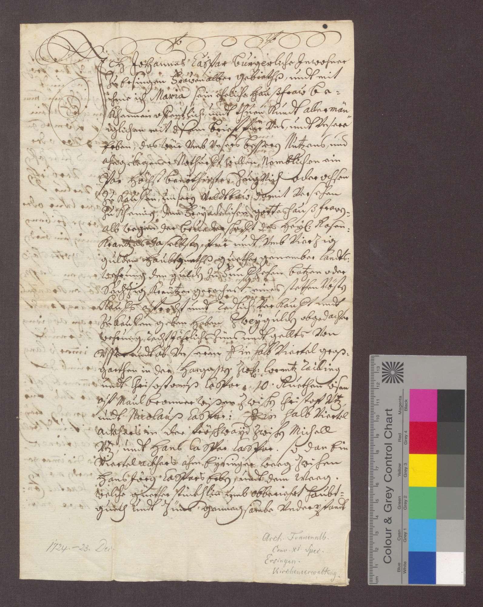 Johannes Kaspar von Ersingen und seine Ehefrau Maria verschreiben sich gegenüber der Rosenkranzbruderschaft zu Frauenalb wegen 40 Gulden Kapital und 2 Gulden Zins., Bild 1