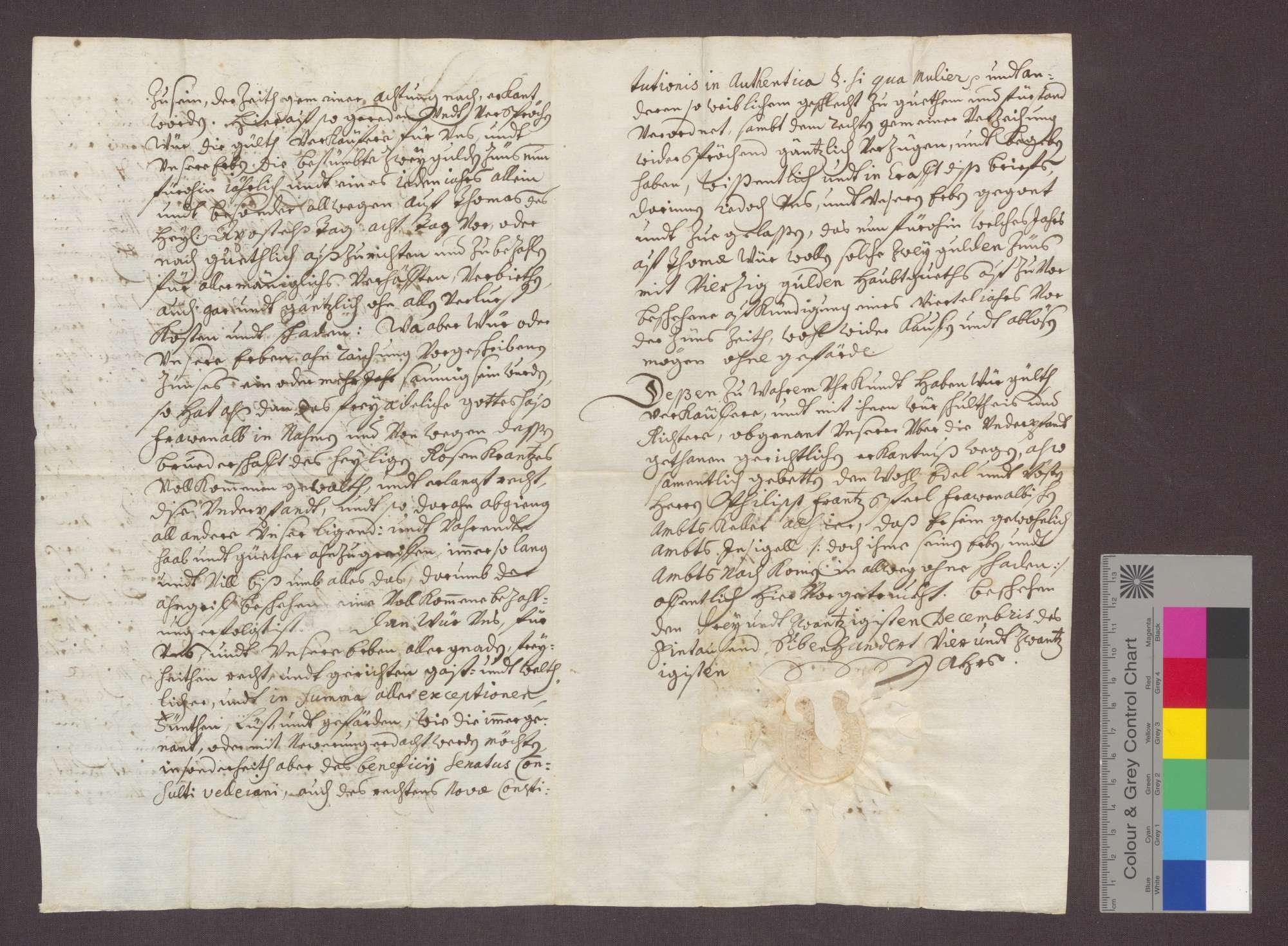 Johannes Kaspar von Ersingen und seine Ehefrau Maria verschreiben sich gegenüber der Rosenkranzbruderschaft zu Frauenalb wegen 40 Gulden Kapital und 2 Gulden Zins., Bild 2