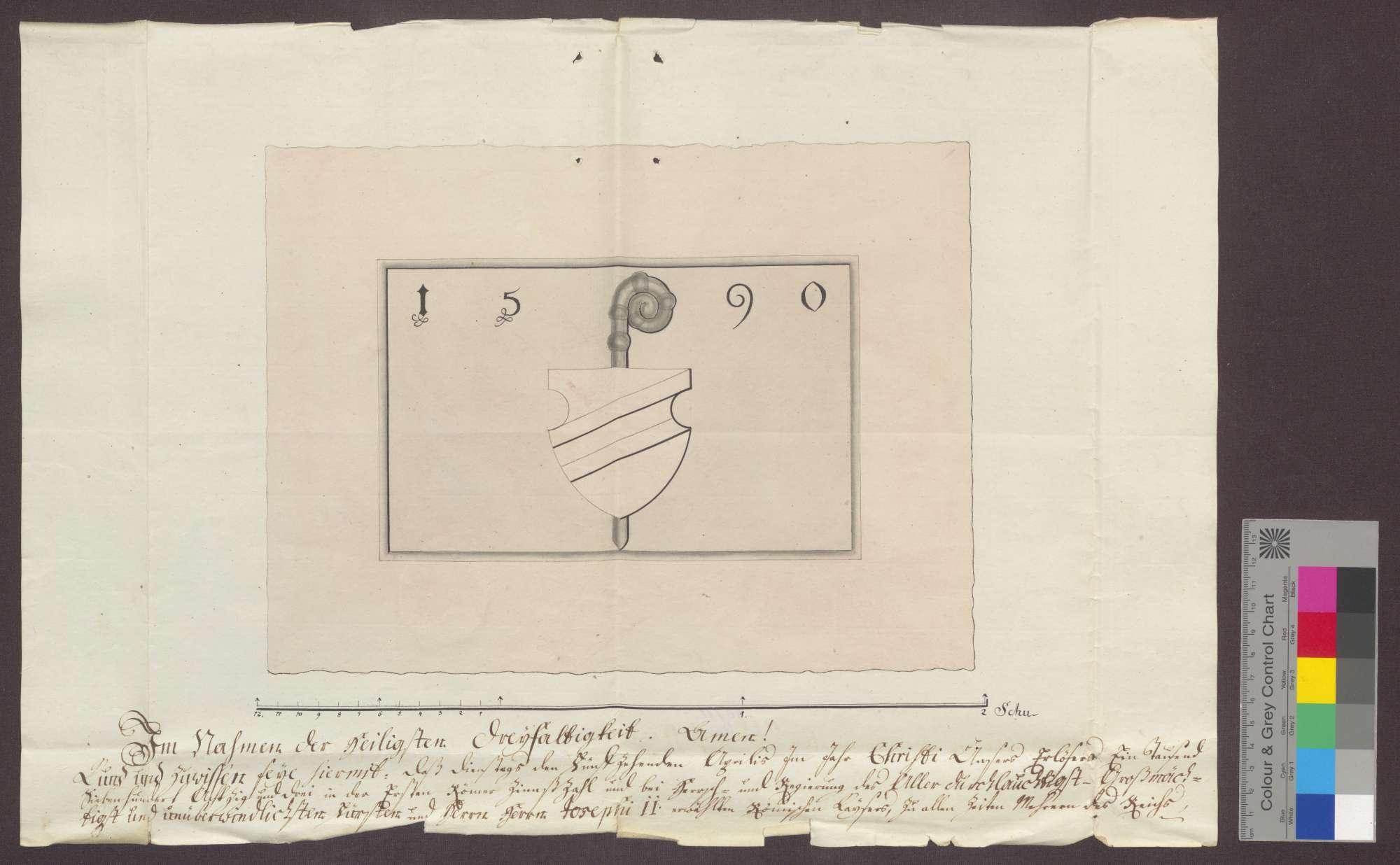 Der Notar Daniel Lembre beurkundet auf Ansuchen des Markgrafen von Baden die Existenz eines Steins mit dem badischen Wappen und der Jahreszahl 1590 an der dem Kloster Frauenalb gehörigen Kelter zu Ersingen., Bild 1