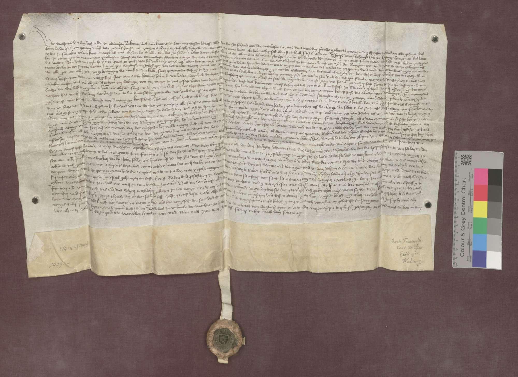 Dietrich von Angelloch, Abt zu Odenheim, vidimiert auf Bitten der Frauenalber Äbtissin Erlind von Weingarten den Schiedsspruch vom 9. August 1404 (GLA 40 Nr. 240 und 241) betreffend die zwischen dem Kloster Frauenalb und der Stadt Ettlingen strittig gewesenen Waldungen., Bild 3