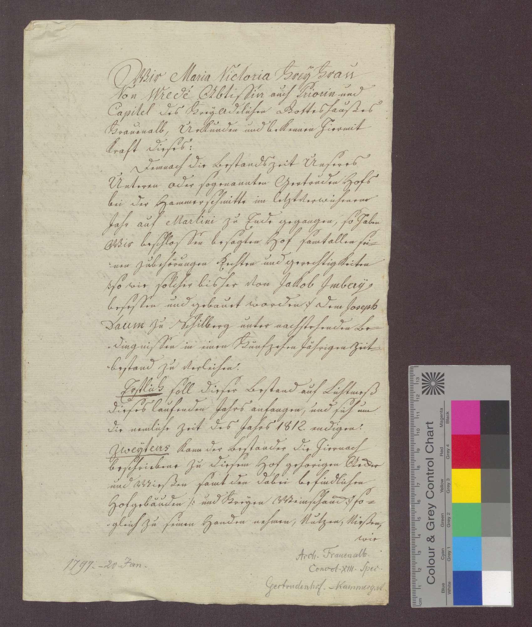 Das Kloster Frauenalb verleiht dem Joseph Daum von Schielberg den unteren oder so genannten Gertrudenhof auf fünfzehn Jahre., Bild 1