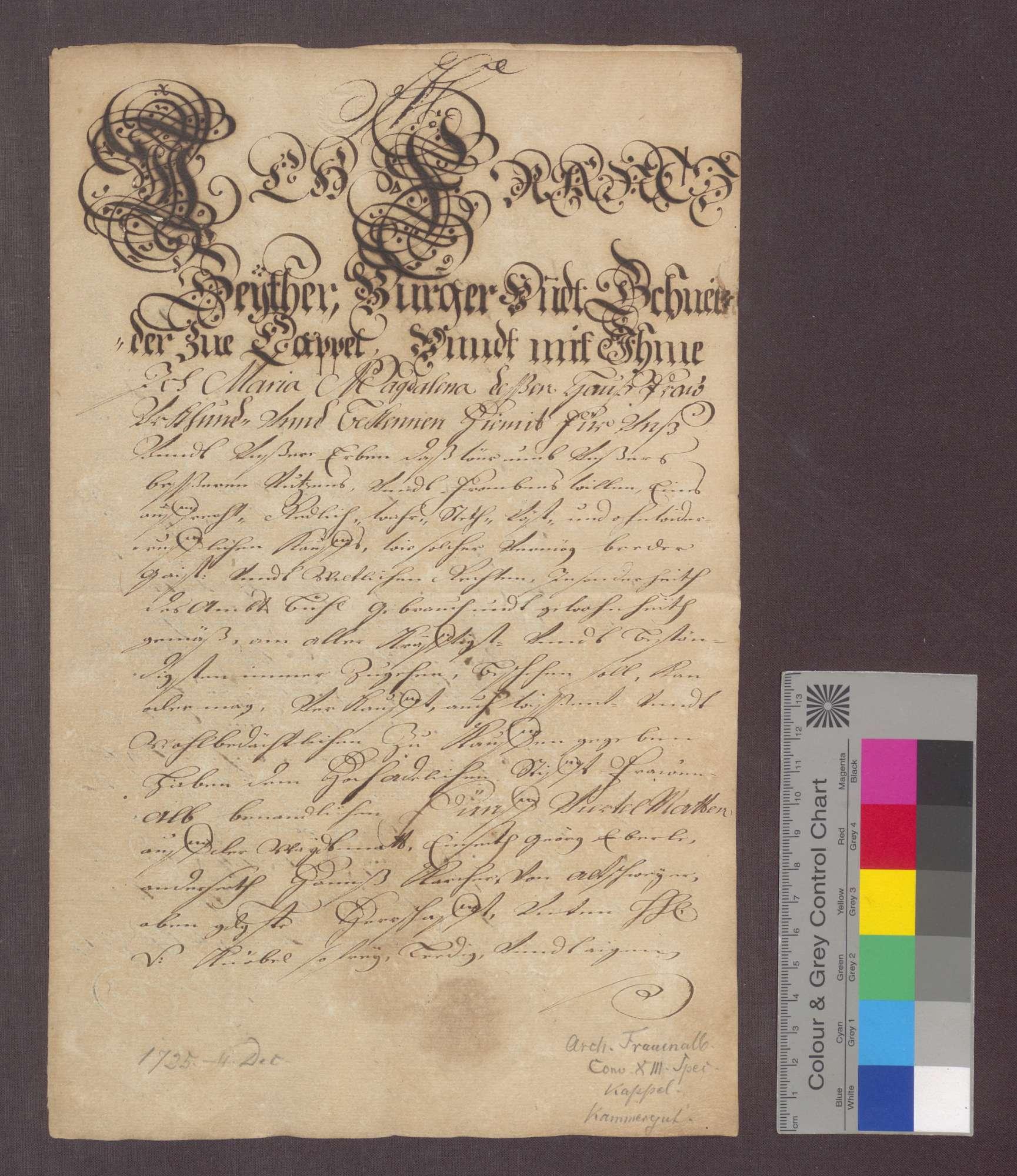 Franz Seiter, Bürger und Schneider zu Kappelwindeck verkauft dem Kloster Frauenalb um 103 Gulden 5 Viertel Matten auf der Weidmatte zu Kappel., Bild 1
