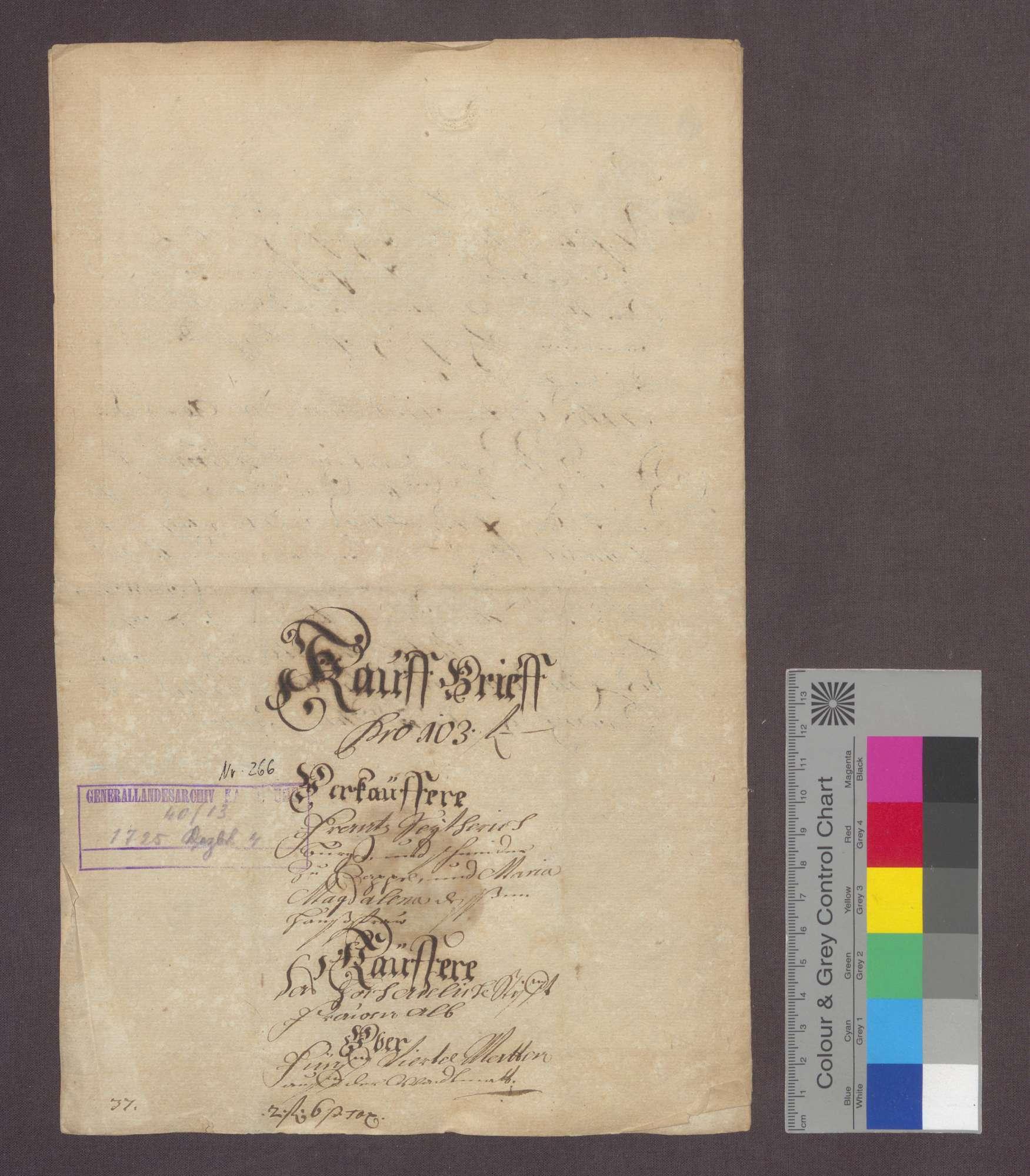 Franz Seiter, Bürger und Schneider zu Kappelwindeck verkauft dem Kloster Frauenalb um 103 Gulden 5 Viertel Matten auf der Weidmatte zu Kappel., Bild 3