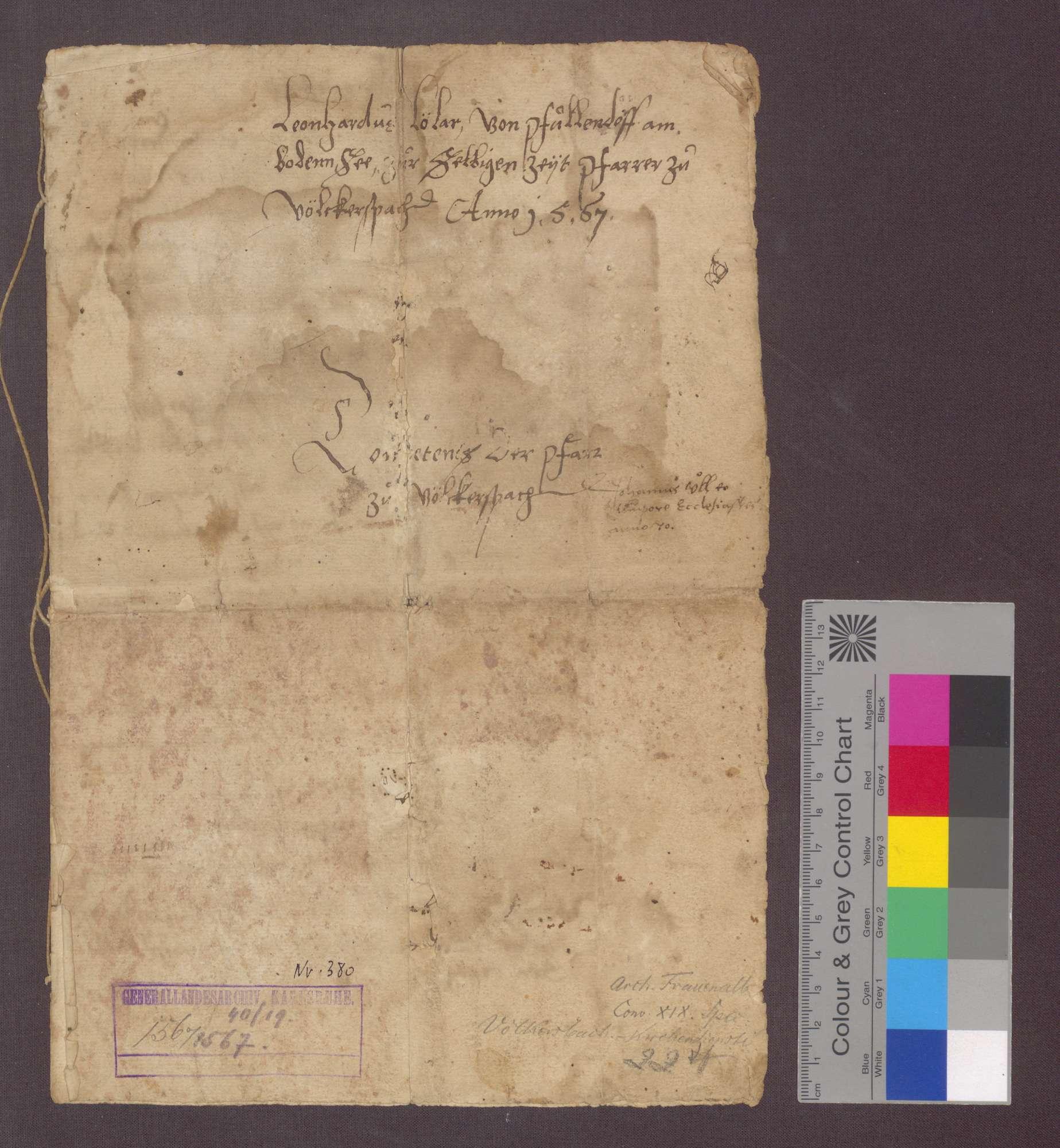 Kompetenz der Pfarrei zu Völkersbach, aufgestellt von Leonhard Lölar von Pfullendorf am Bodensee, derzeit Pfarrer zu Völkersbach (Fragment)., Bild 1