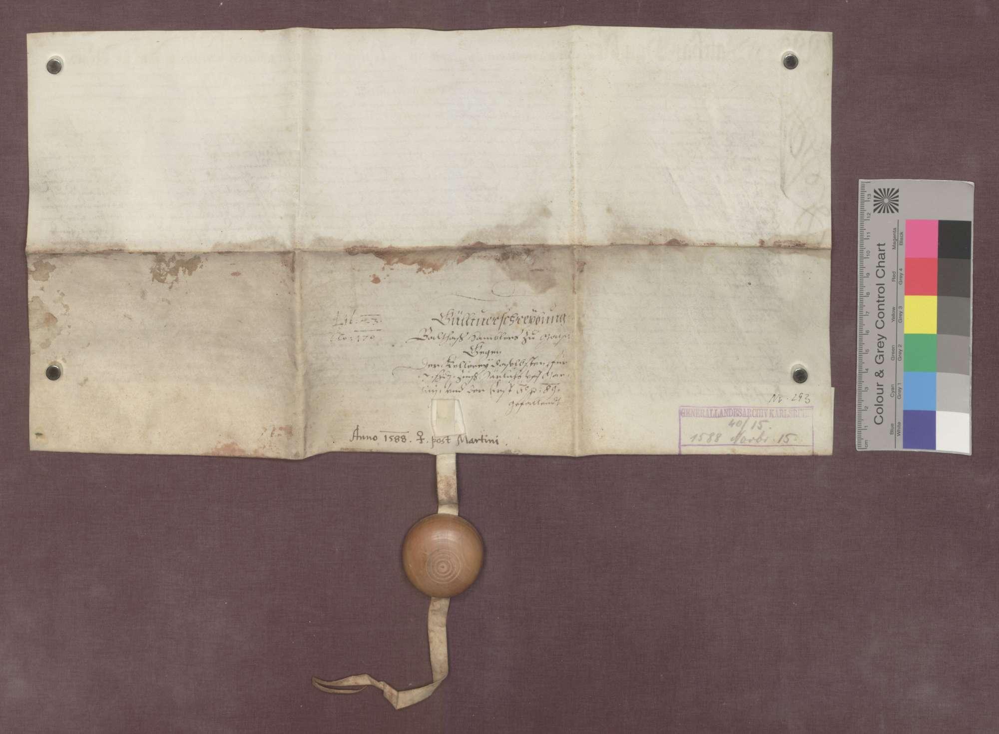 Balthasar Hambler zu Malsch verschreibt sich gegenüber der herrenalbischen Kellerei zu Malsch wegen 10 Gulden Kapital und 7 Schilling Pfennigen jährlichem Zins., Bild 2