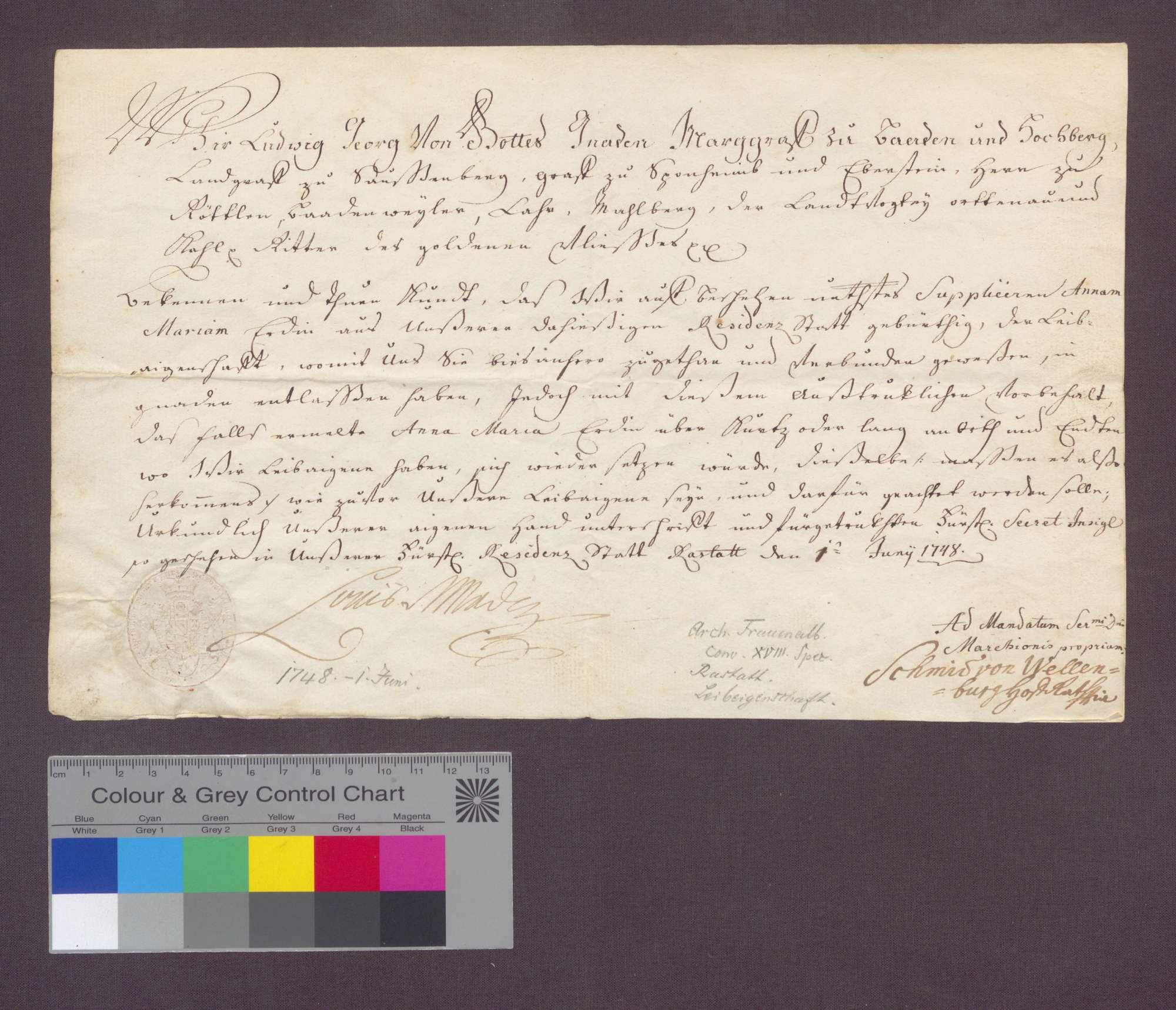 Markgraf Ludwig Georg von Baden-Baden entlässt Maria Erd aus Rastatt aus der Leibeigenschaft., Bild 1