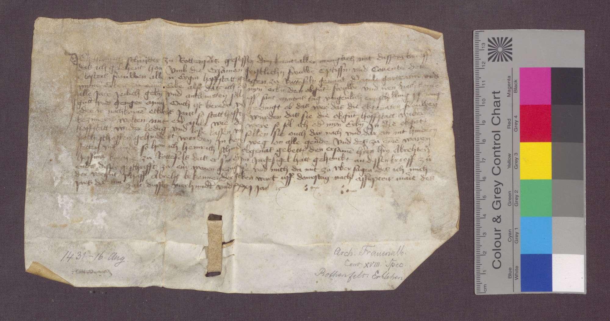 Heinrich Schneider zu Rotenfels reversiert gegenüber dem Kloster Frauenalb wegen der ihm um einen jährlichen Zins von 1 Schilling Pfennigen erblich verliehenen Hofstatt genannt Mühlgarten zu Rotenfels., Bild 1