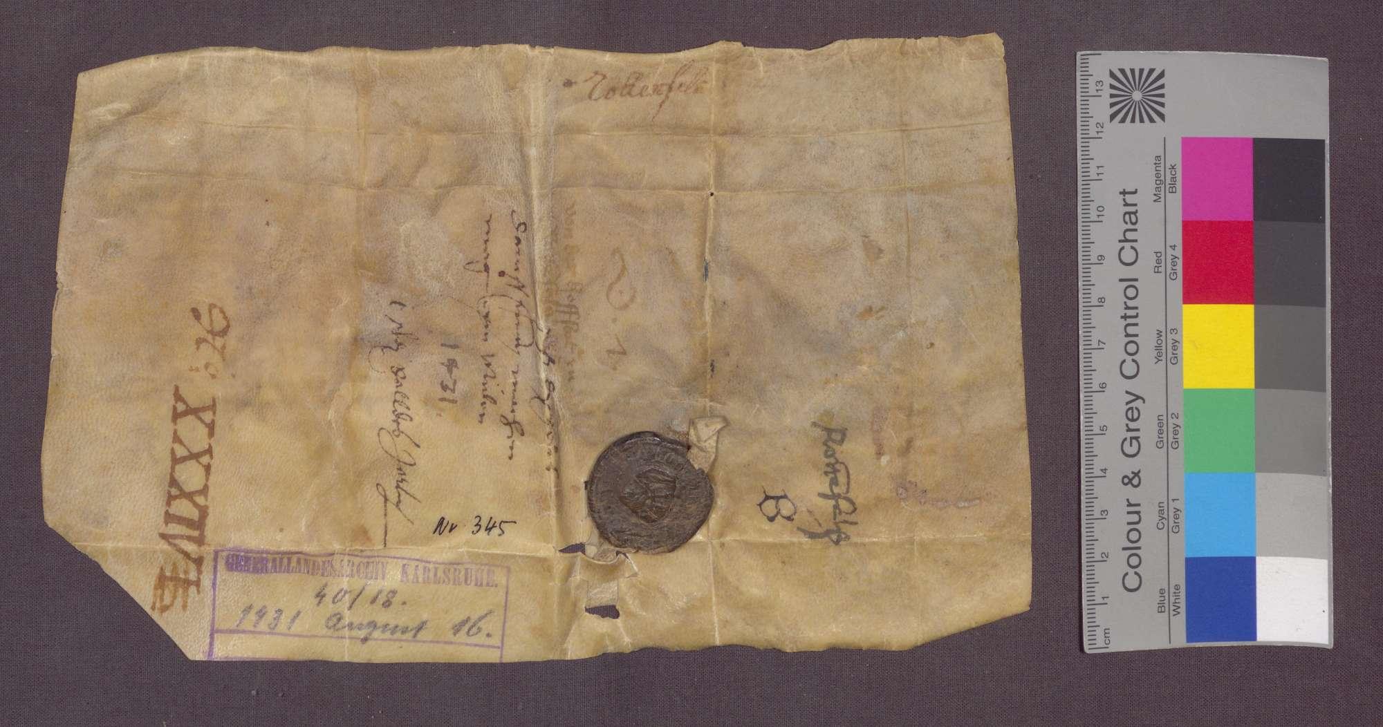 Heinrich Schneider zu Rotenfels reversiert gegenüber dem Kloster Frauenalb wegen der ihm um einen jährlichen Zins von 1 Schilling Pfennigen erblich verliehenen Hofstatt genannt Mühlgarten zu Rotenfels., Bild 2