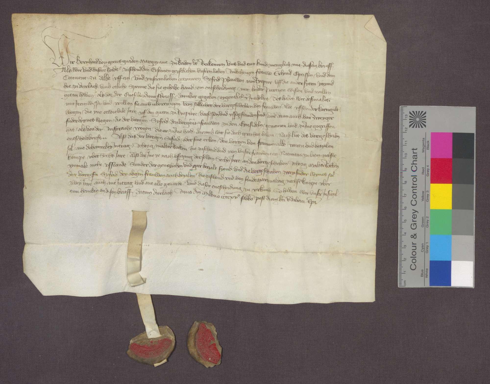 Markgraf Bernhard von Baden entscheidet im Streit zwischen Äbtissin Erlind von Frauenalb und Siegfried Pfau von Rüppurr wegen rückständiger Getreide- und Weingülten., Bild 3