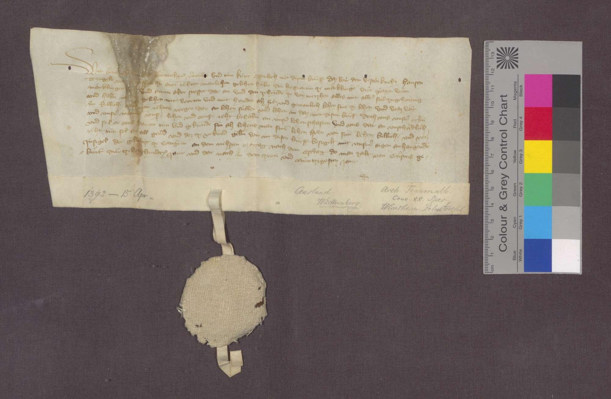 Graf Eberhard von Württemberg gibt Hans Trigel von Öwisheim die Hofreite zu Merklingen, die Götz von Merklingen gehörte, und einen daran stoßenden Acker sowie den Zehnt zu Wimsheim samt Zugehörungen zu Mannlehen., Bild 1