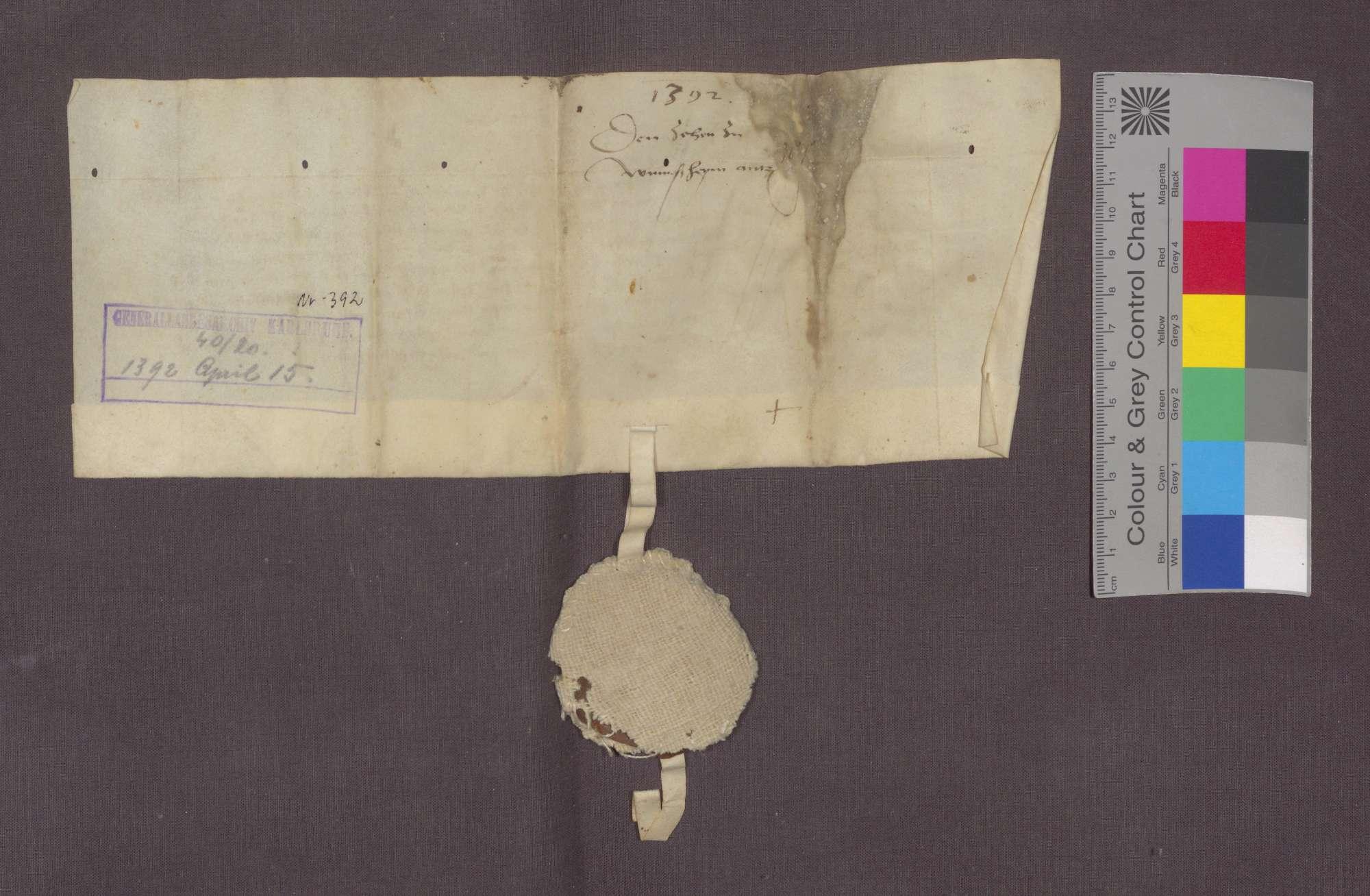 Graf Eberhard von Württemberg gibt Hans Trigel von Öwisheim die Hofreite zu Merklingen, die Götz von Merklingen gehörte, und einen daran stoßenden Acker sowie den Zehnt zu Wimsheim samt Zugehörungen zu Mannlehen., Bild 2